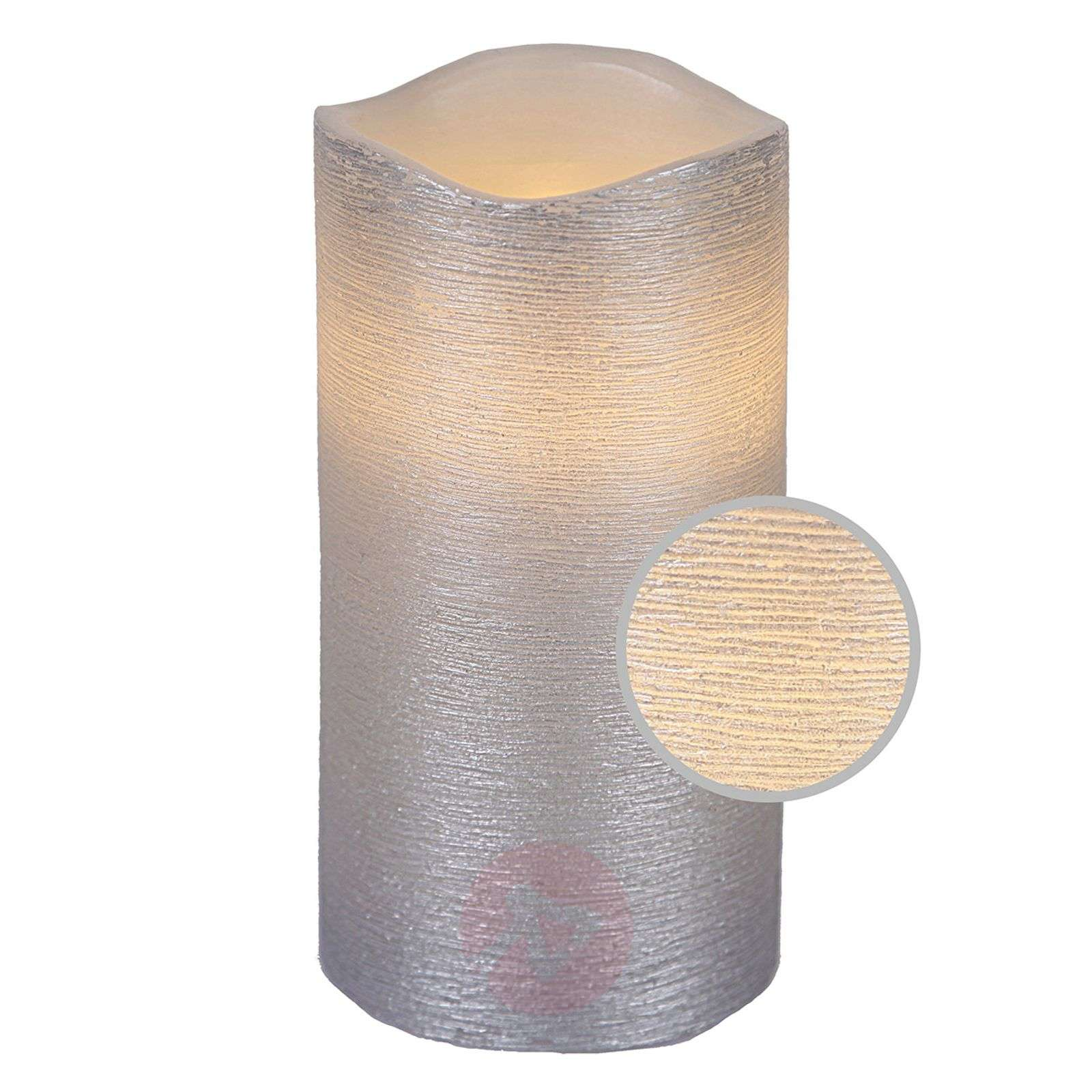 15 cm real waxLED candle Linda structured white-1522549-01