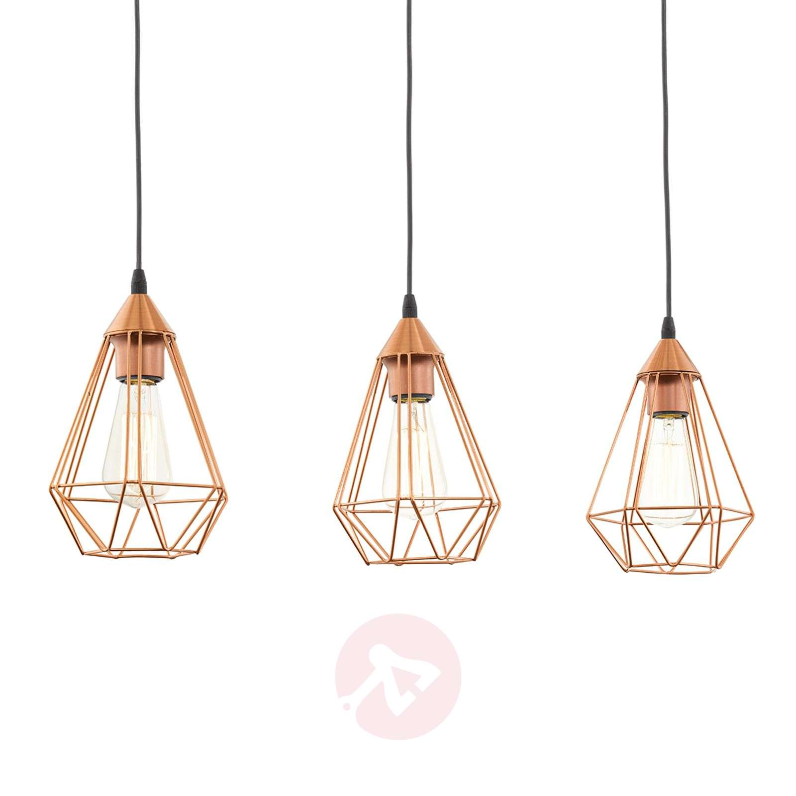 3 bulb vintage pendant light tarbes in copper for Lustre suspension triple
