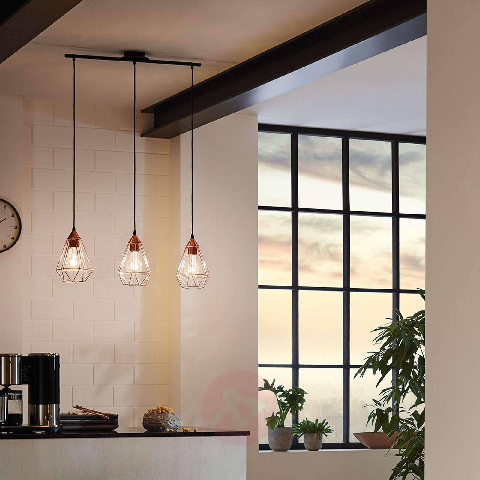 vintage pendant lighting. 3-bulb Vintage Pendant Light Tarbes In Copper-3031864-01 Lighting