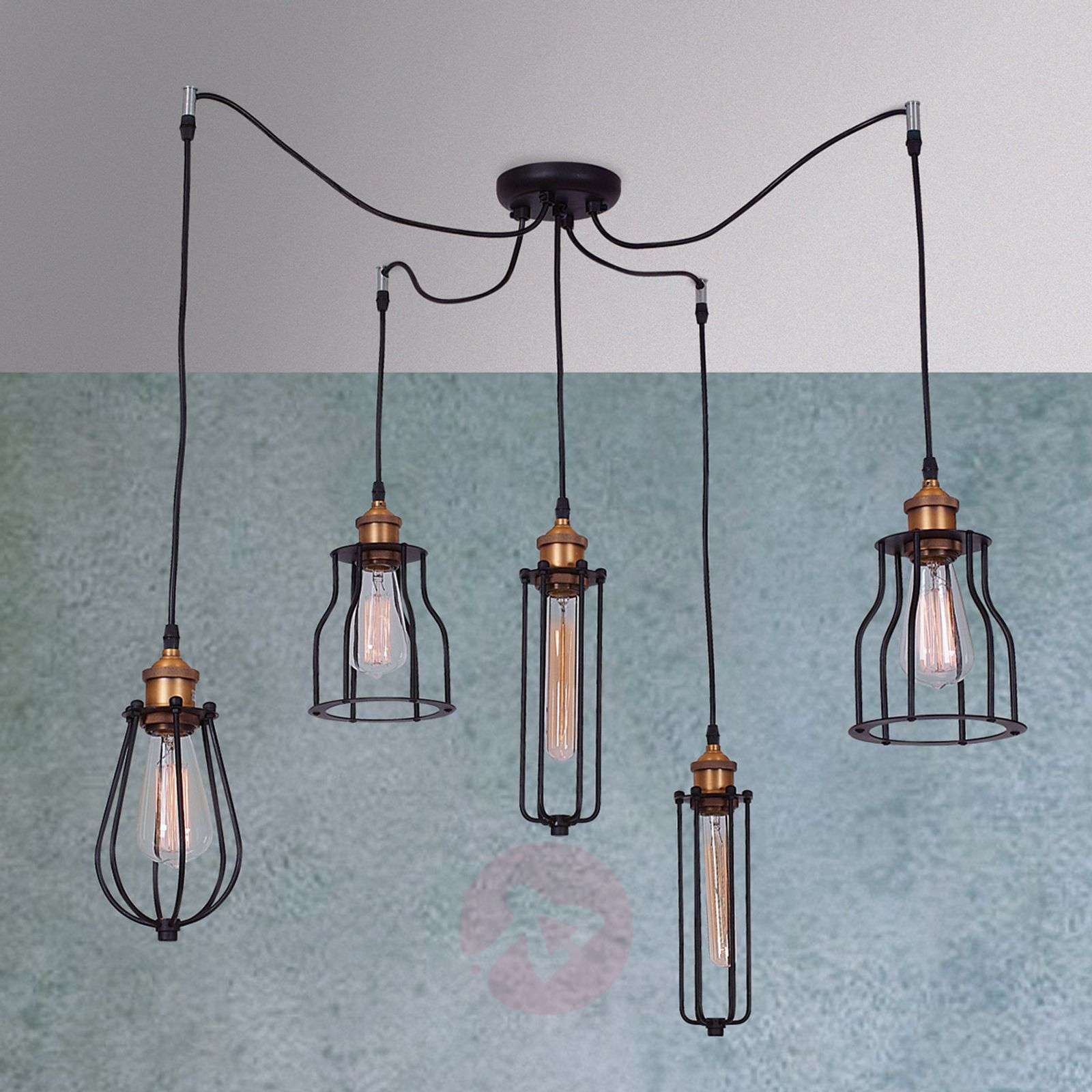 5-light hanging light Ustiko with rustic charm-1054115-01