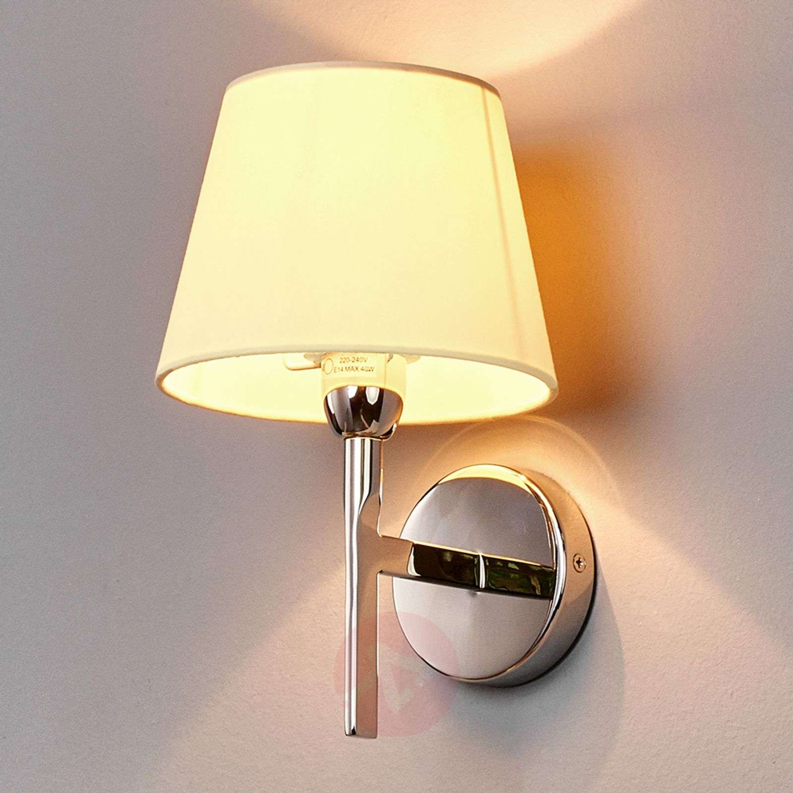 Antje Fabric Wall Light with Round Shade-9612022-01