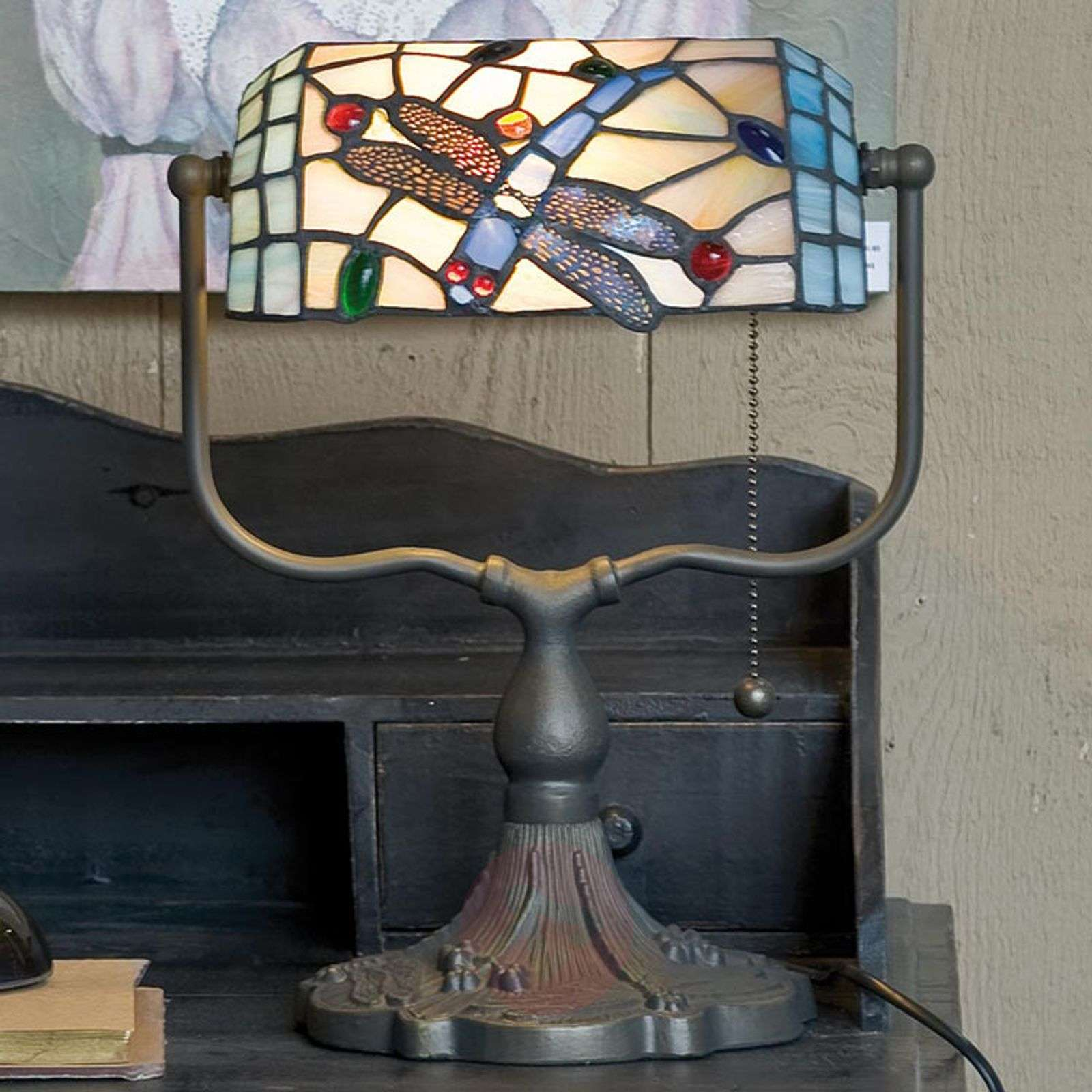 Banker Lamp Dragonfly Tiffany Style Lights Co Uk
