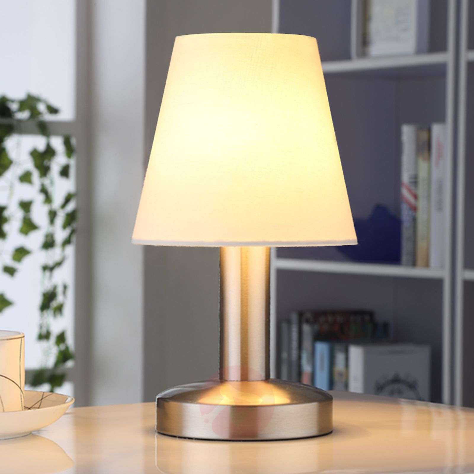 Lighting Lamp: Bedside Table Lamp Hanno W. White Fabric Lampshade