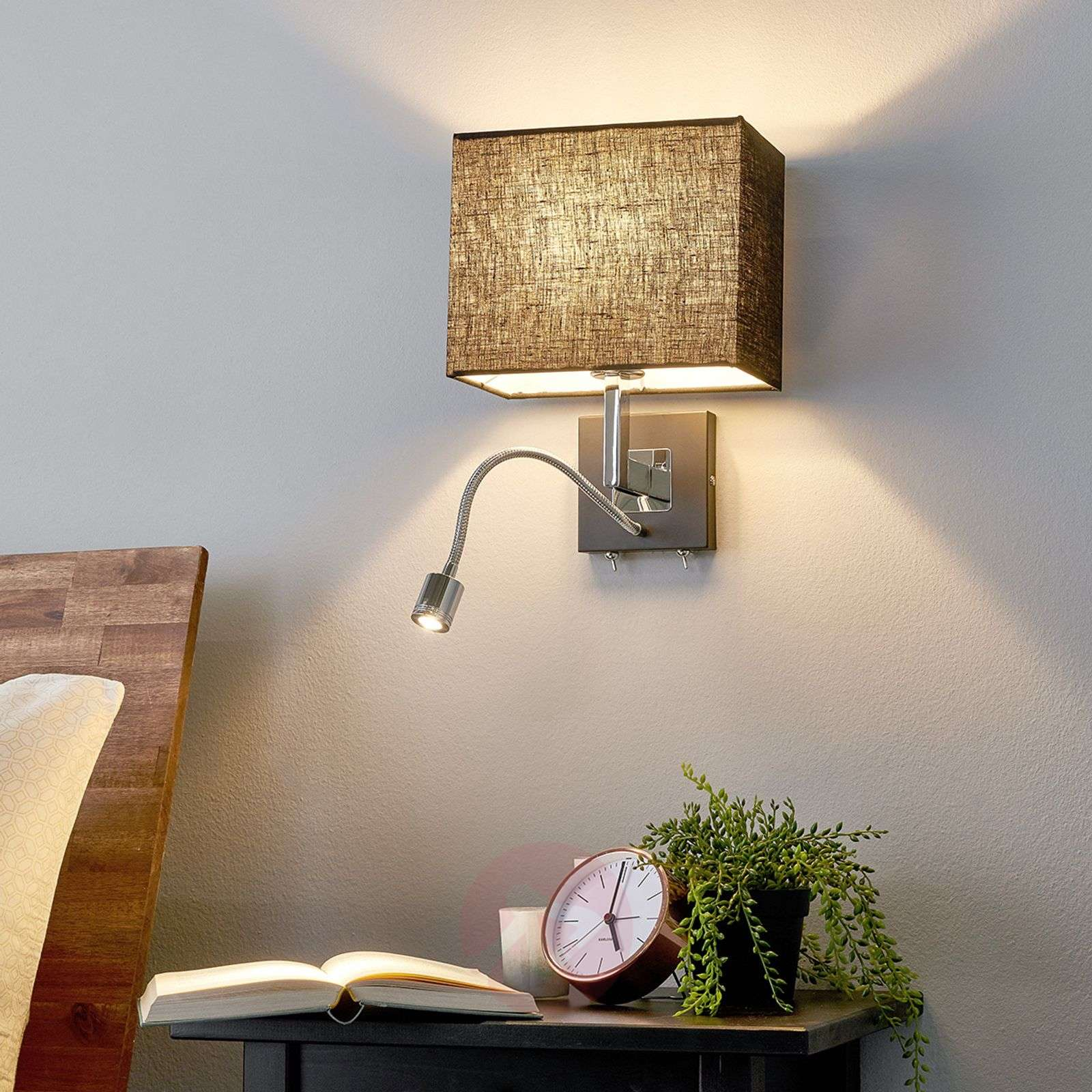 black fabric wall lamp rebekka led reading arm. Black Bedroom Furniture Sets. Home Design Ideas