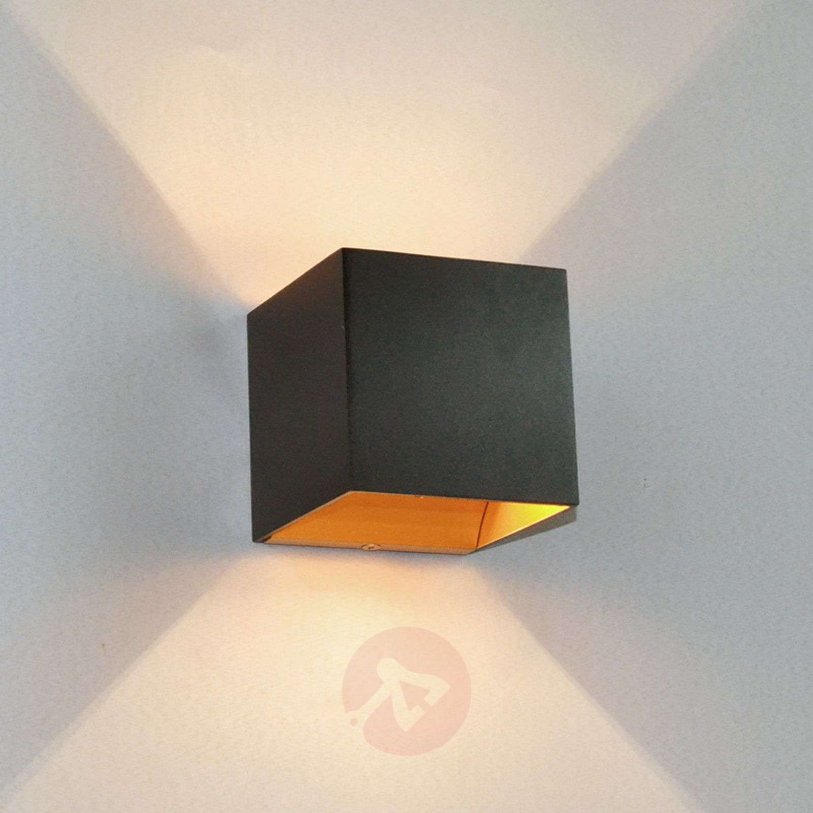 Black LED Wall Lamp Aldrina Gold Inside