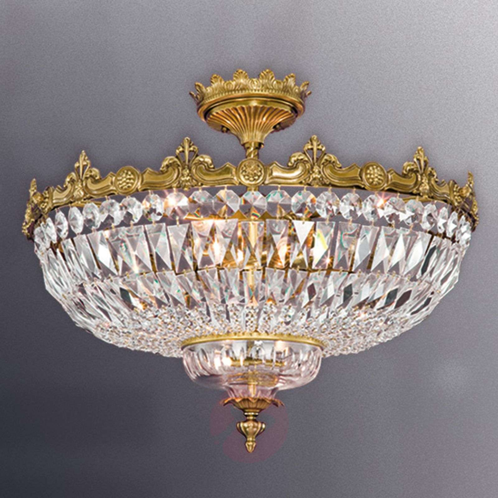Brass coloured ceiling light stephanie w crystals lights brass coloured ceiling light stephanie w crystals 8023160 01 aloadofball Image collections