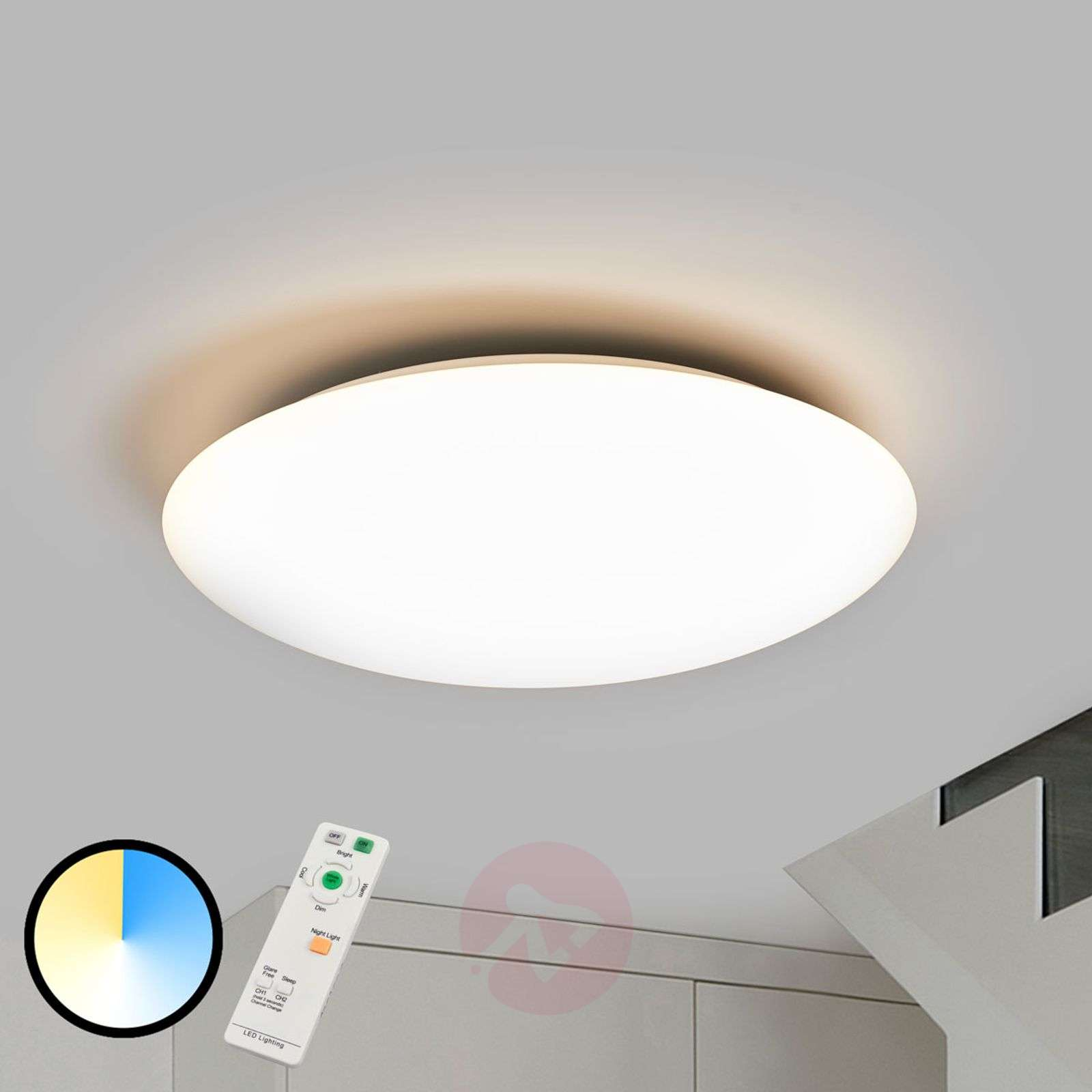 Bright dimmable led ceiling lamp teo remote 9952010 06