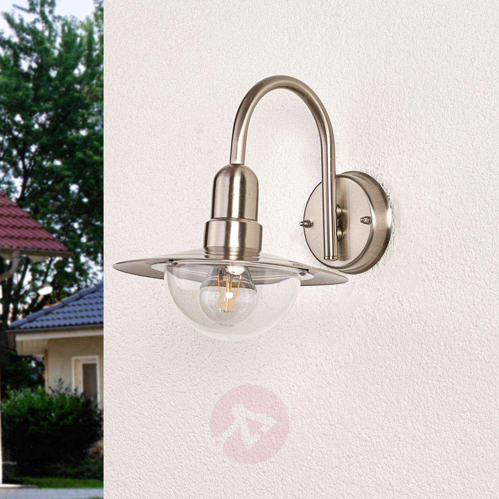 Classic LED outdoor wall light Fedra in steel-9647035-01