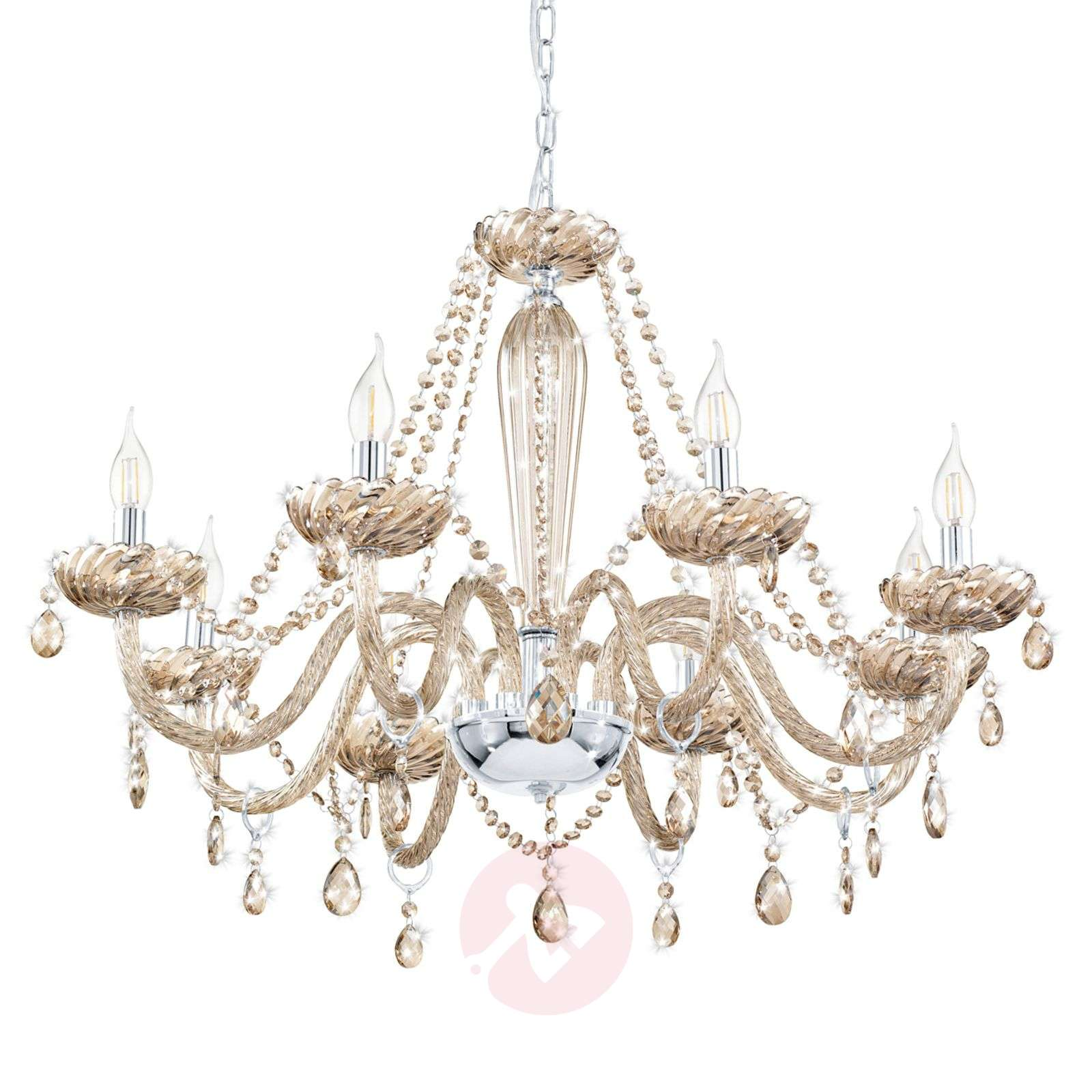 Cognac Coloured Glass Basilano Chandelier 3031837 01