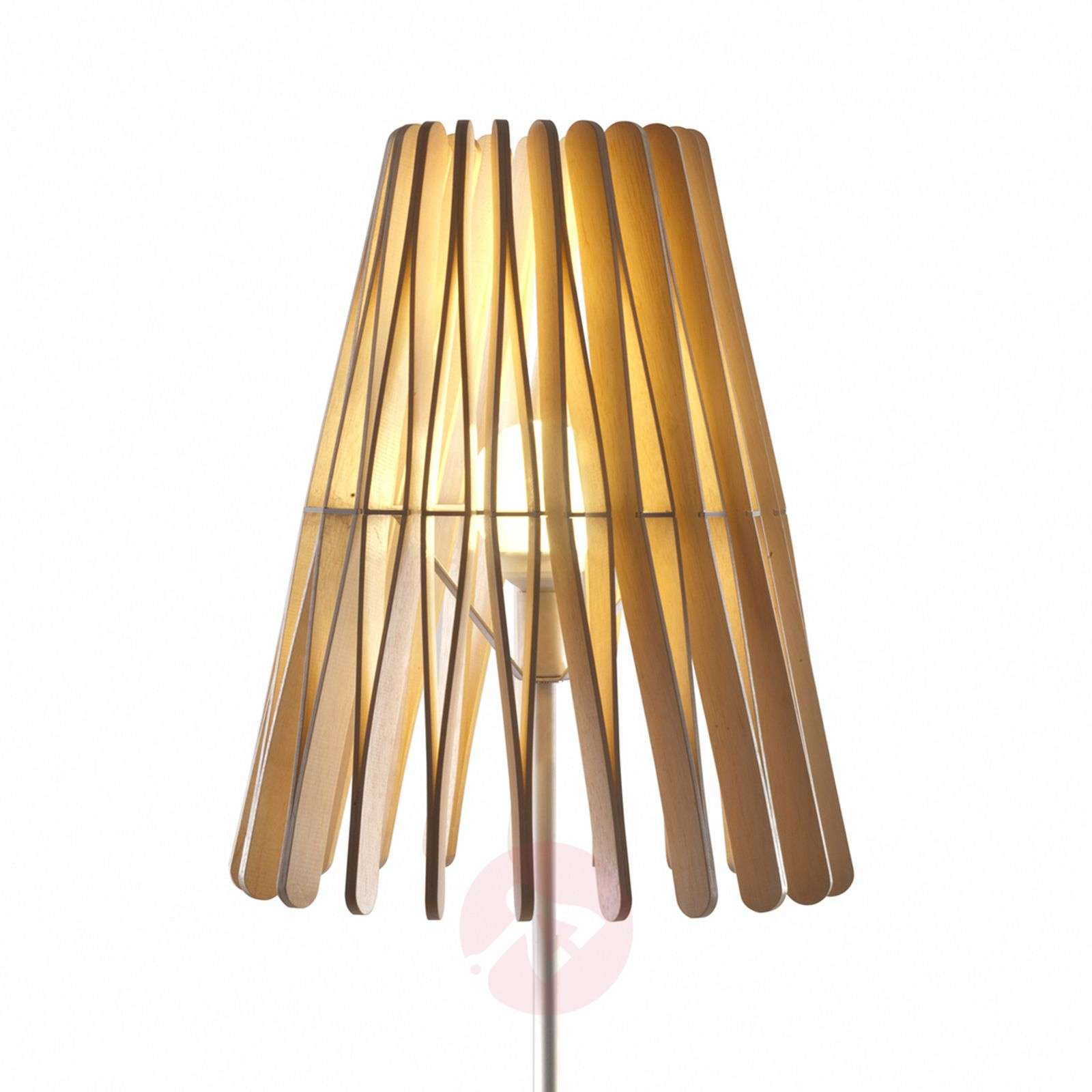 Cone Shaped Stick Floor Lamp Made Of Wood Lights Co Uk