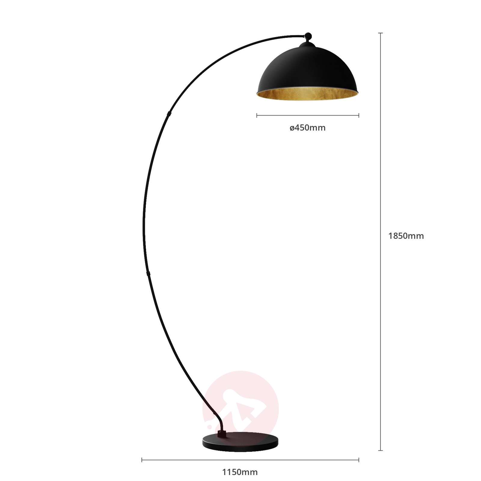 Curved floor lamp jonera black and gold lights curved floor lamp jonera black and gold 9621154 02 aloadofball Choice Image