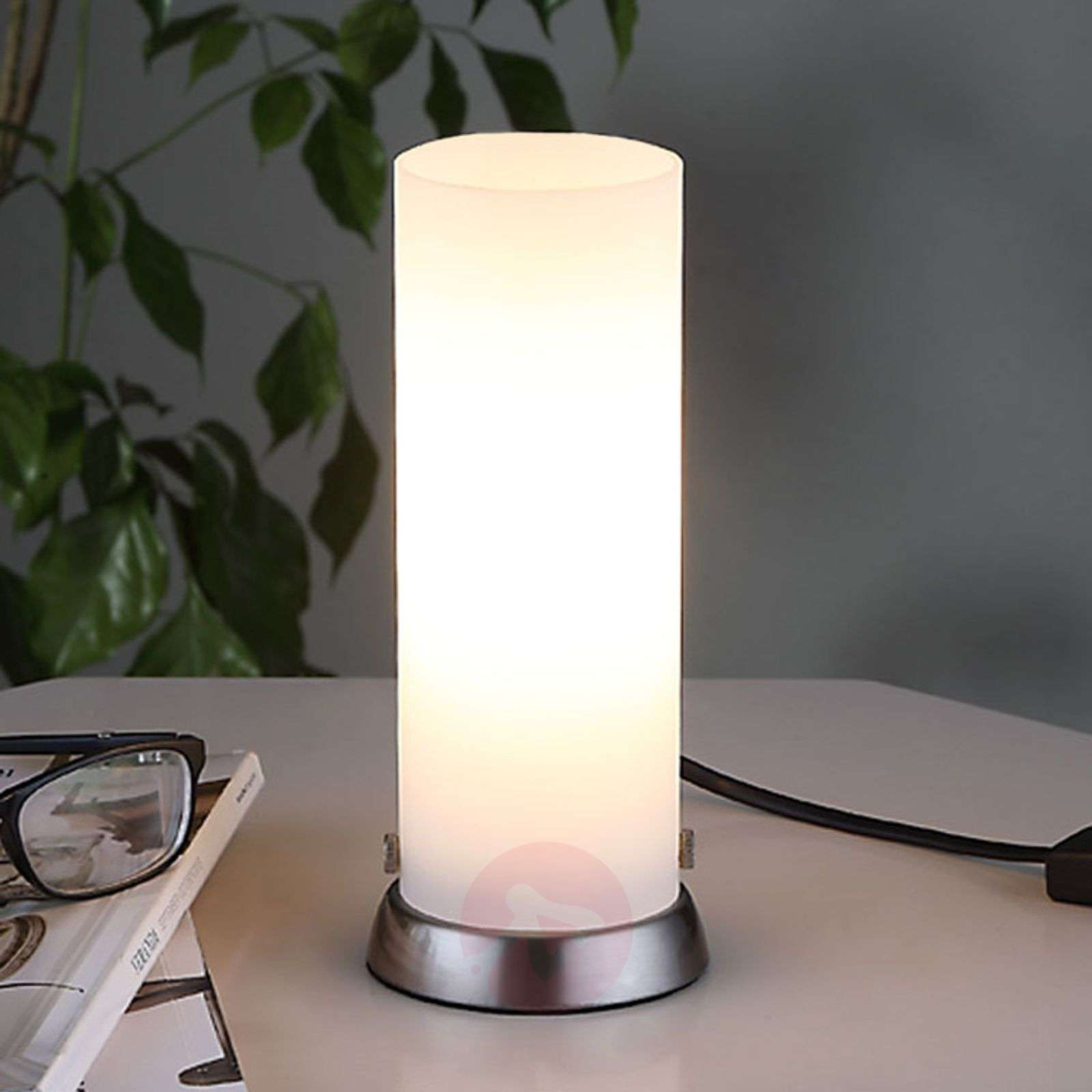 Cylindrical led table lamp andrew made of glass lights aloadofball Image collections