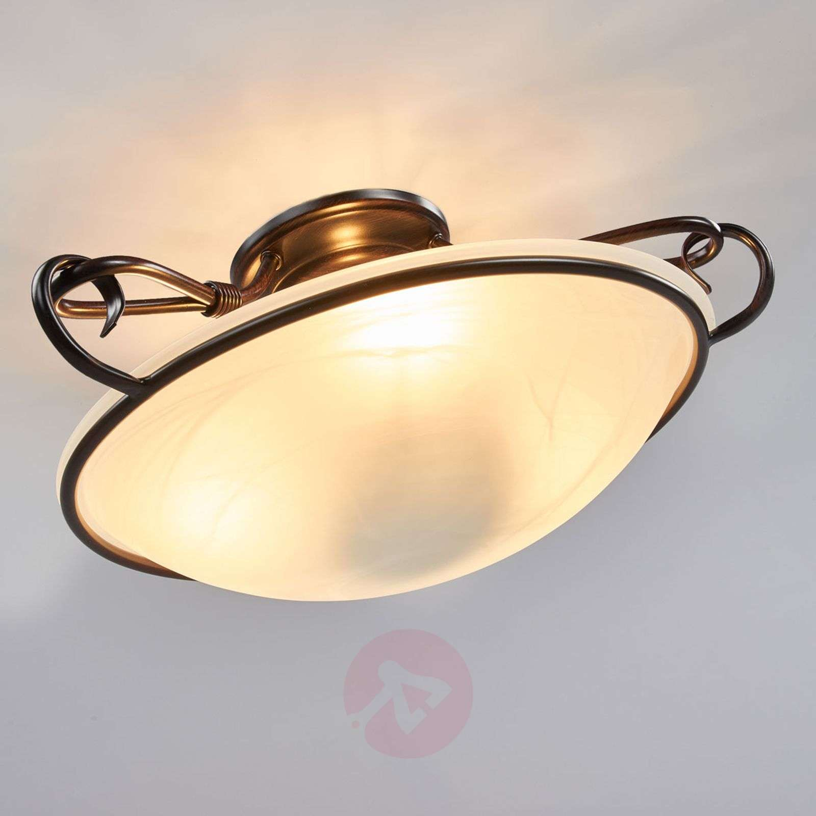 Decorative Como ceiling light, antique rust colour ...