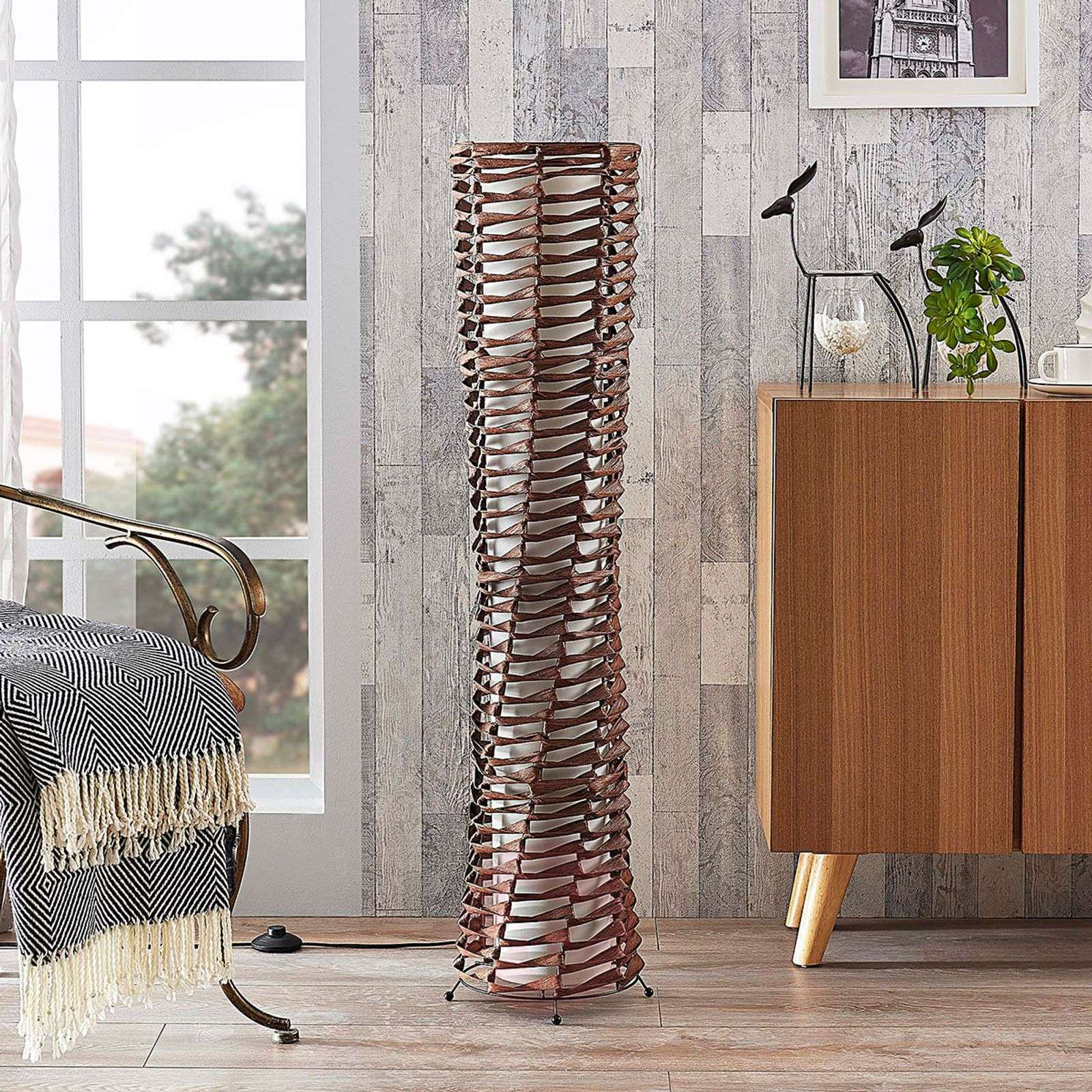 Decorative living room floor lamp Joas in brown