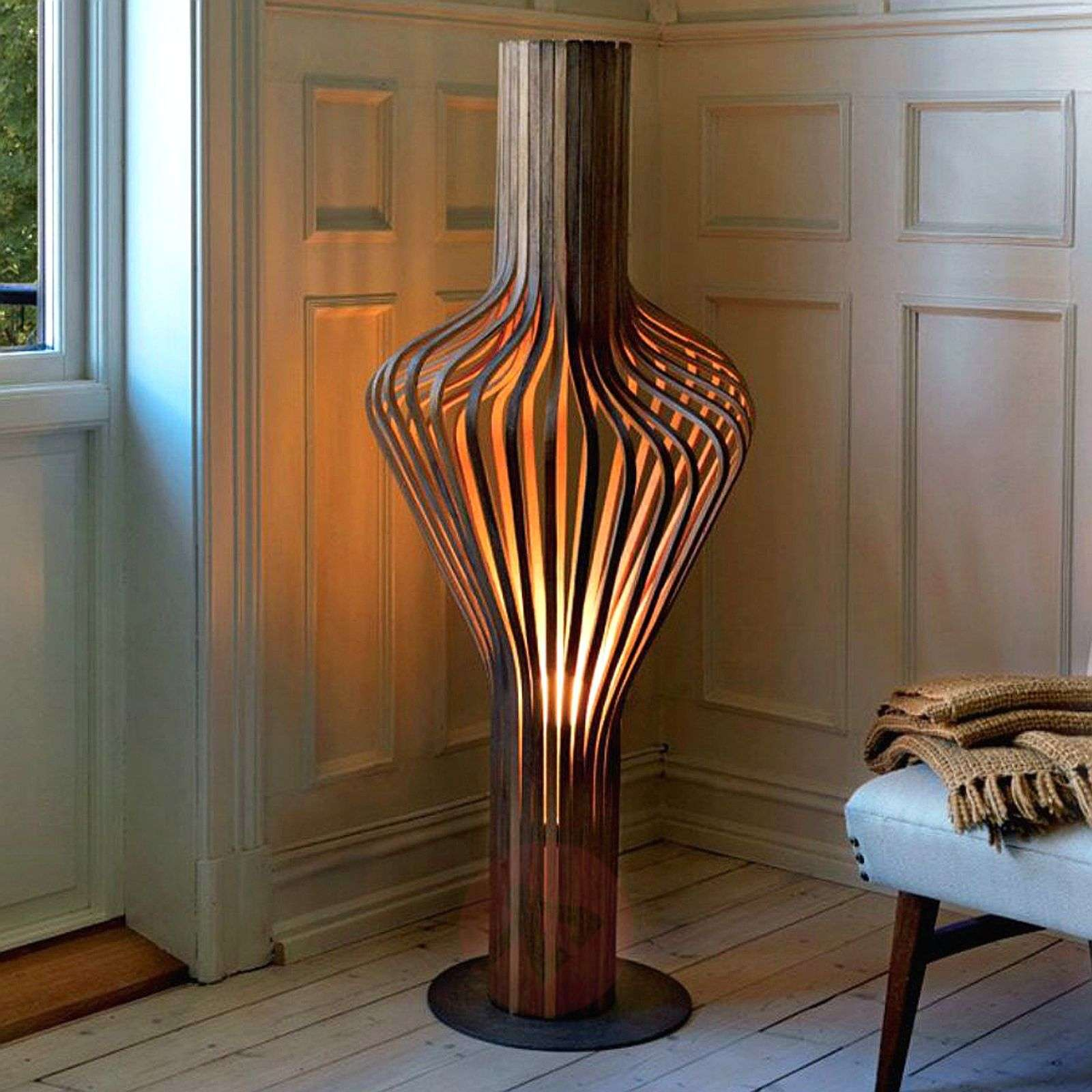 Dimmable designer floor lamp diva made of wood lightscouk for Used wood floor lamp