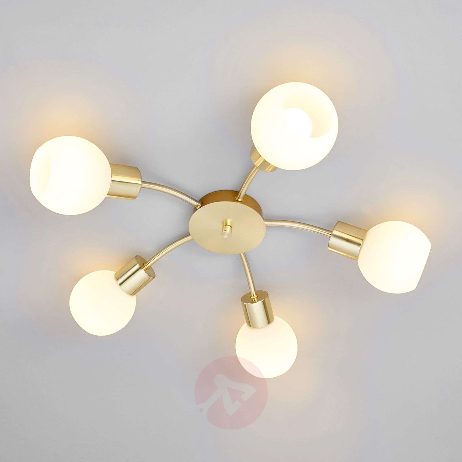 Led Ceiling Lights Brass : Elaina led ceiling light in brass bulb lights