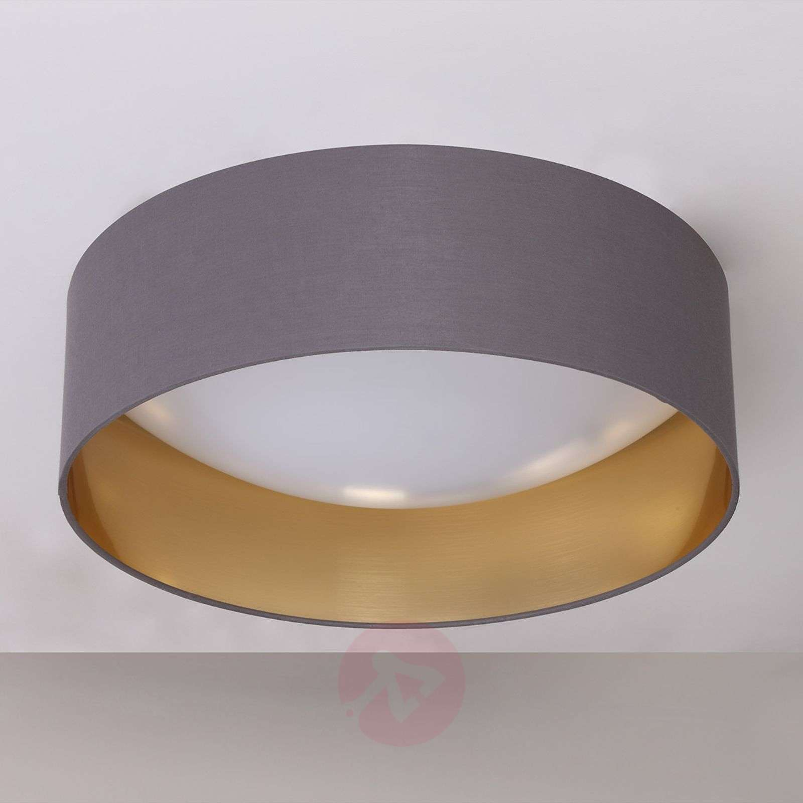 fabric ceiling light coleen in grey gold inside