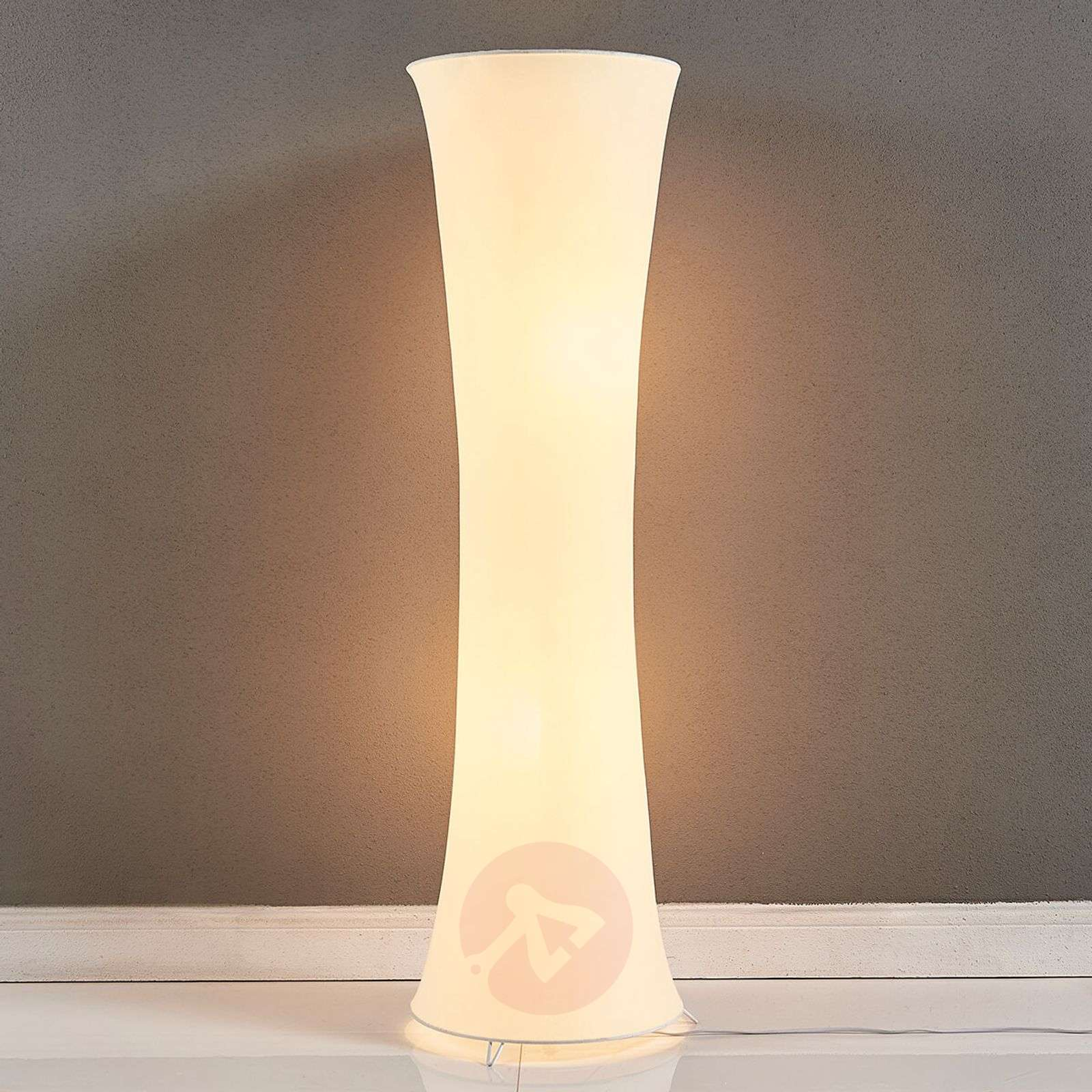 Fabric floor lamp Liana with a concave shape | Lights.co.uk
