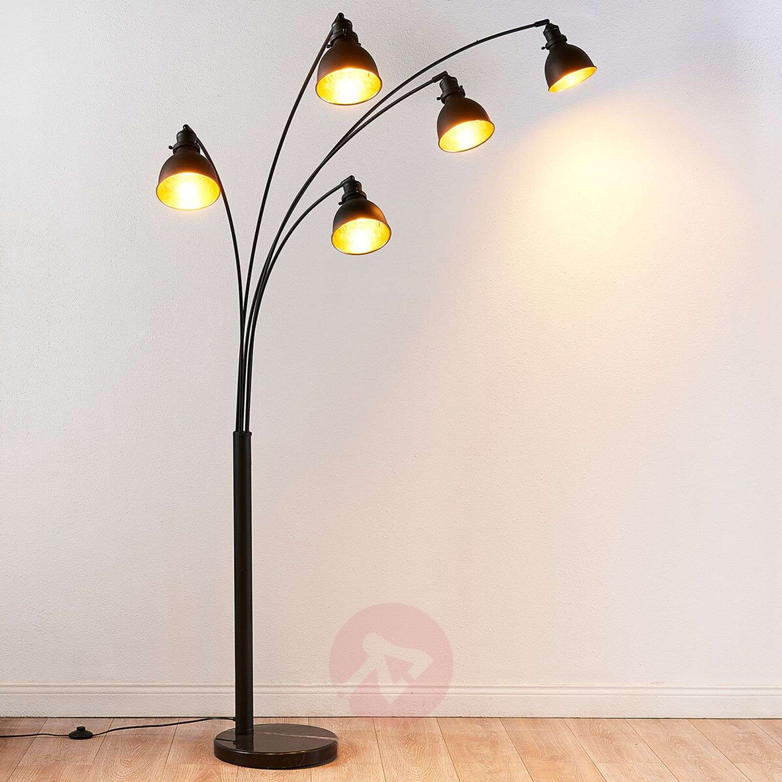 Five bulb floor lamp lira in black and gold lights five bulb floor lamp lira in black and gold 9621140 02 mozeypictures Gallery