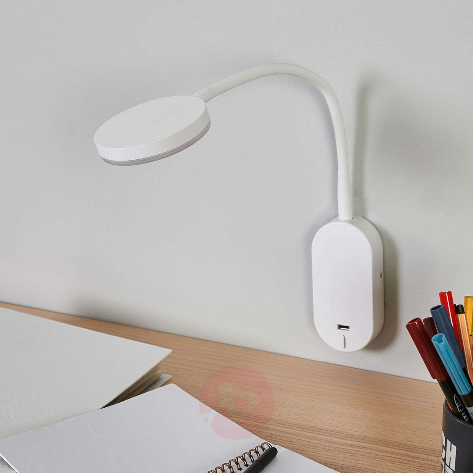 Flexible arm led wall light milow with usb port lights flexible arm led wall light milow with usb port 9643030 01 mozeypictures Choice Image