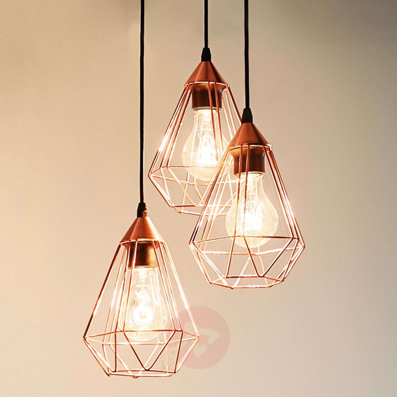 glossy copper hanging light tarbes 3 bulb
