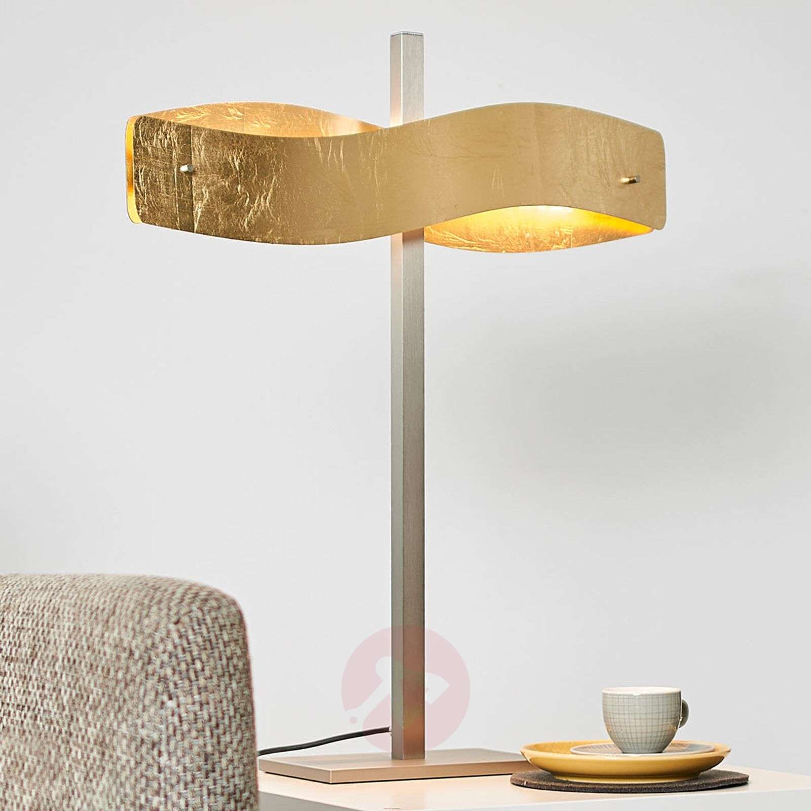 Gold Coloured Lian Led Table Lamp Touch Dimmer Lights Co Uk