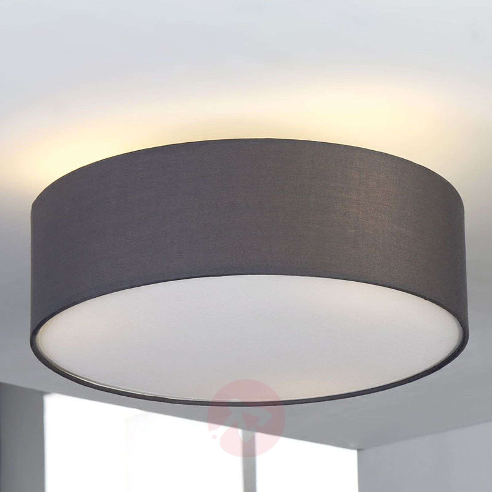 Ceiling Lights Grey : Grey fabric ceiling light sebatin lights
