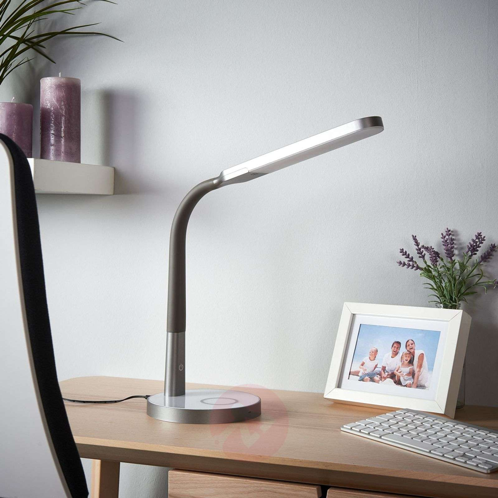Grey Led Desk Lamp Maily Usb And Dimmer Lights Co Uk
