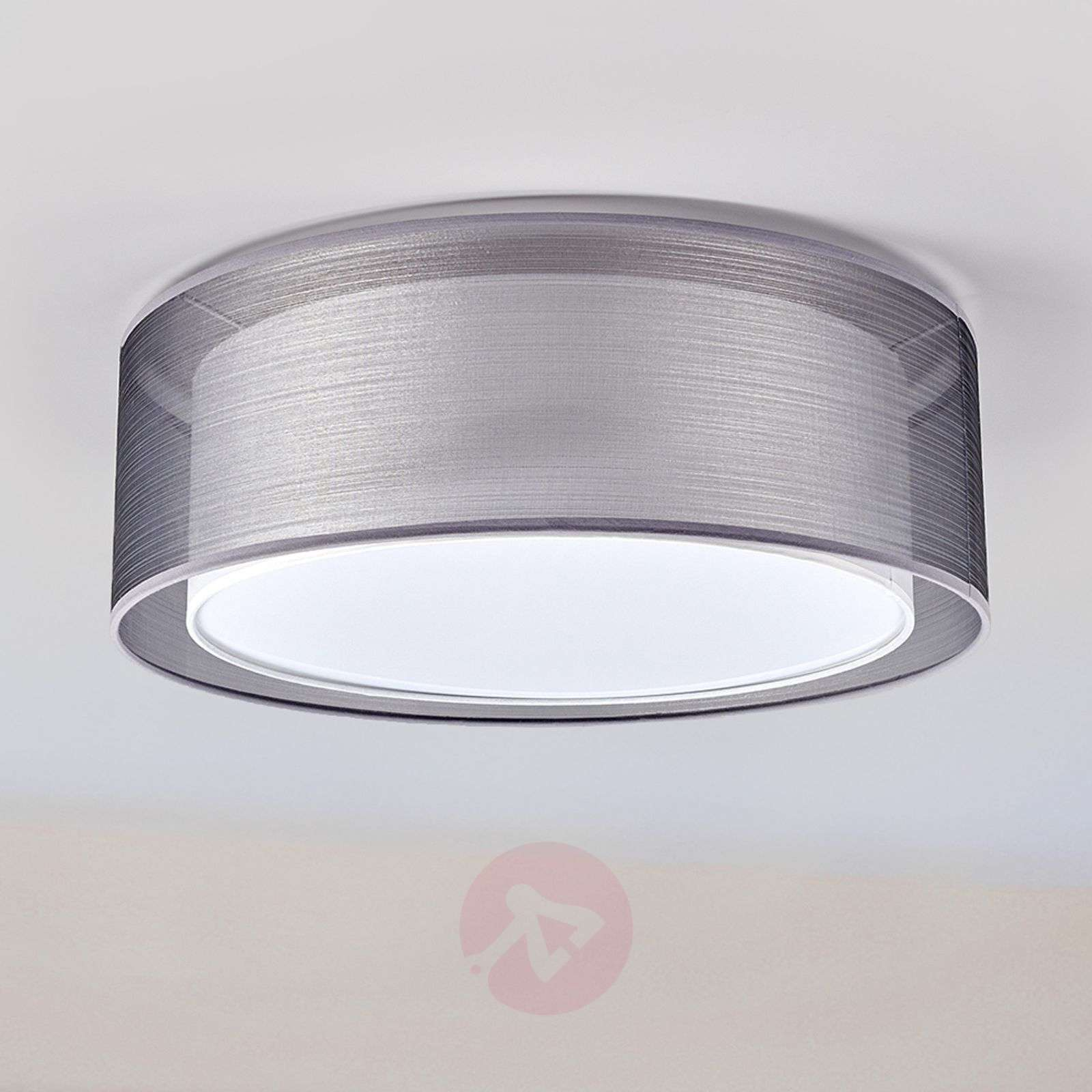 Grey nica ceiling light with double fabric shade lights grey nica ceiling light with double fabric shade 4018005 03 aloadofball
