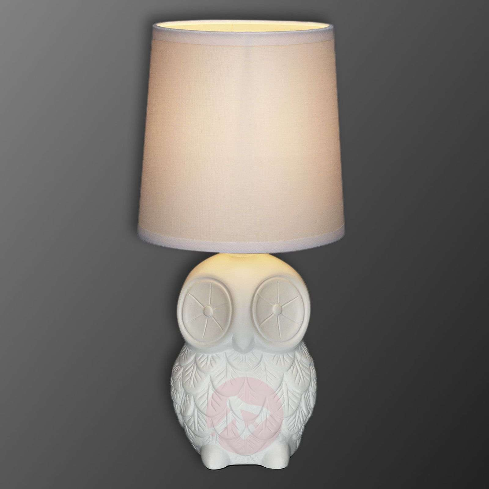 Helge owl table lamp with white fabric lampshade lights helge owl table lamp with white fabric lampshade 6506124 01 aloadofball Gallery