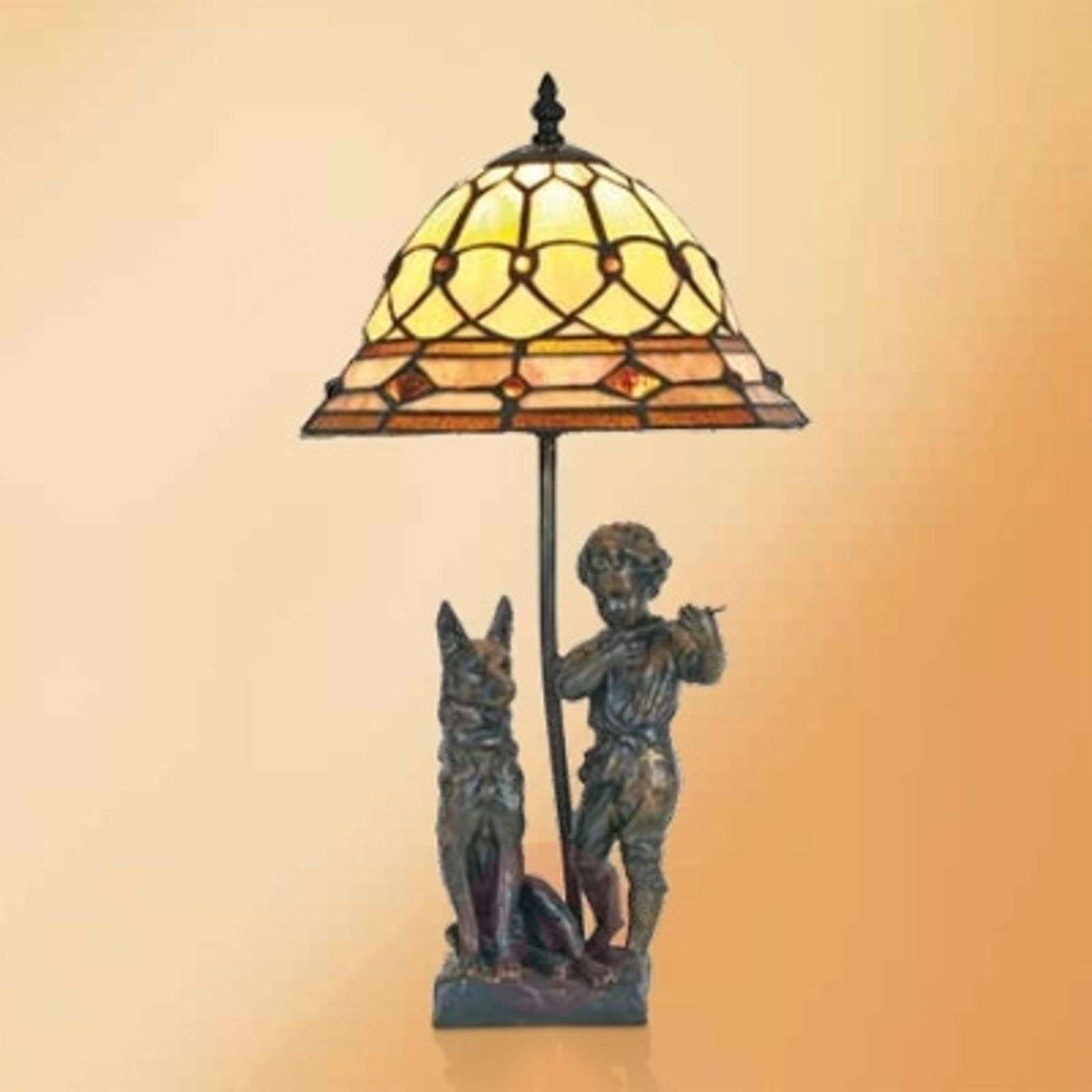 Hugo table lamp with resin figures, Tiffany style-1032299-01