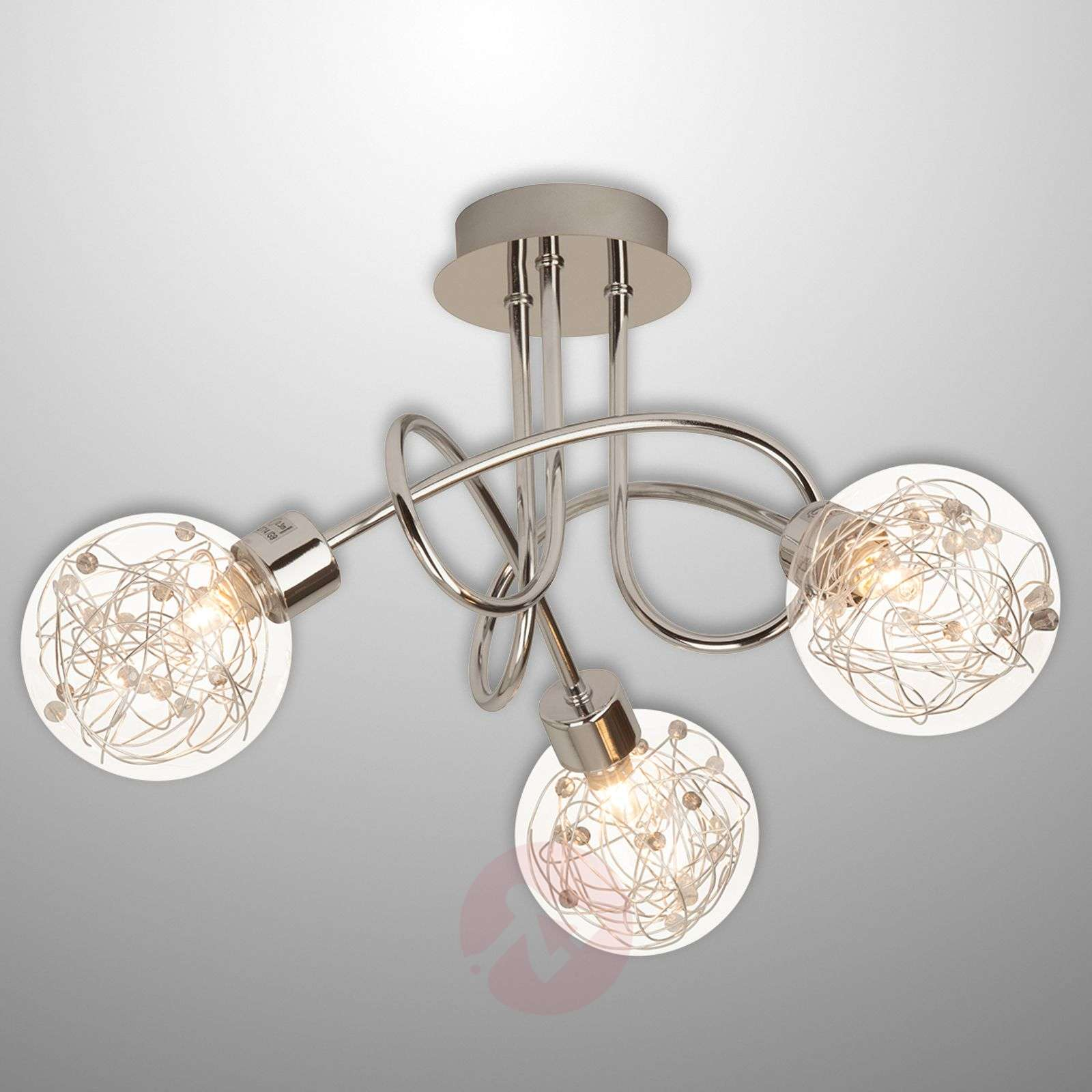 3 Bulb Ceiling Light: Joya - 3-bulb Ceiling Light With Glass Lampshades
