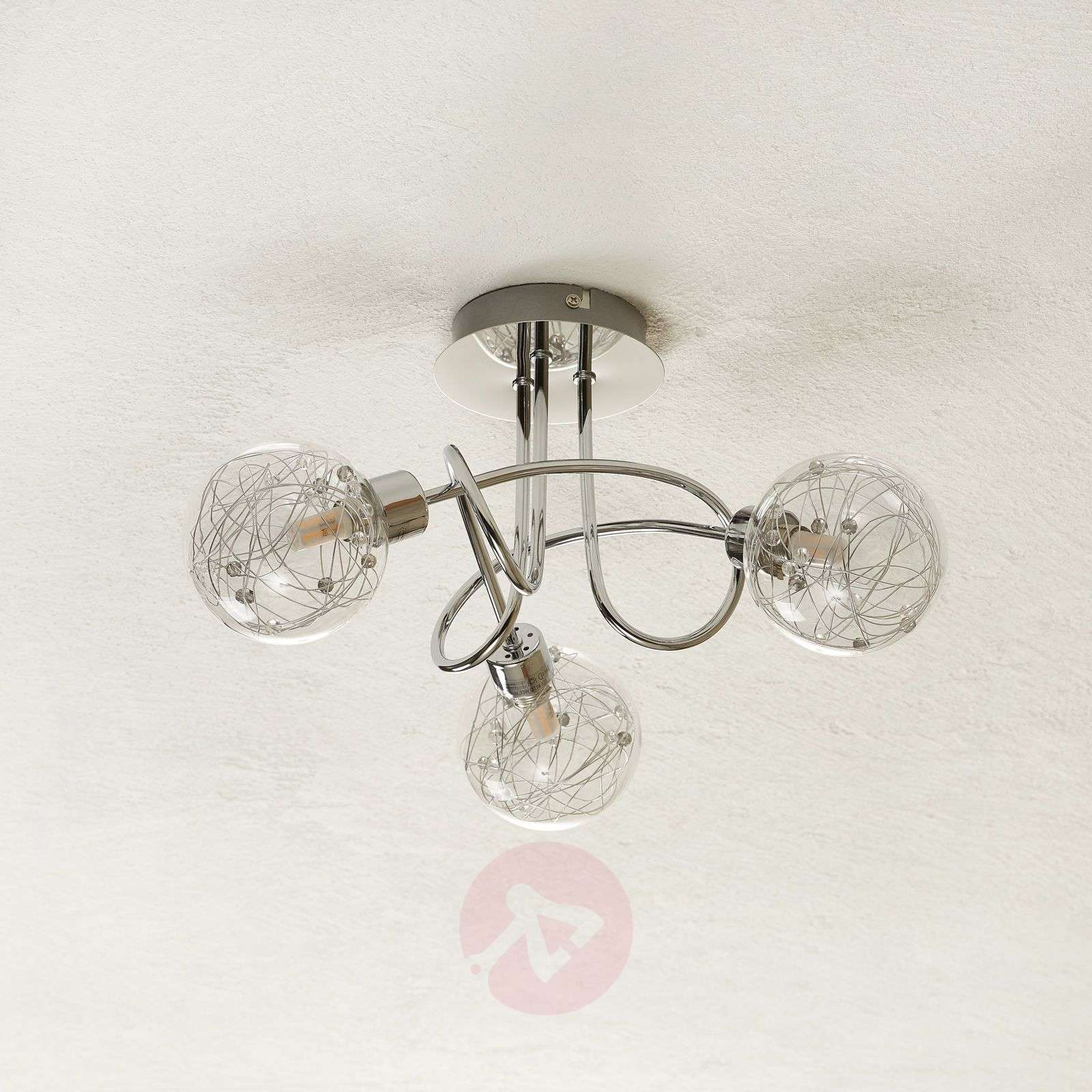 Joya 3-bulb ceiling light with glass lampshades-1509046-01