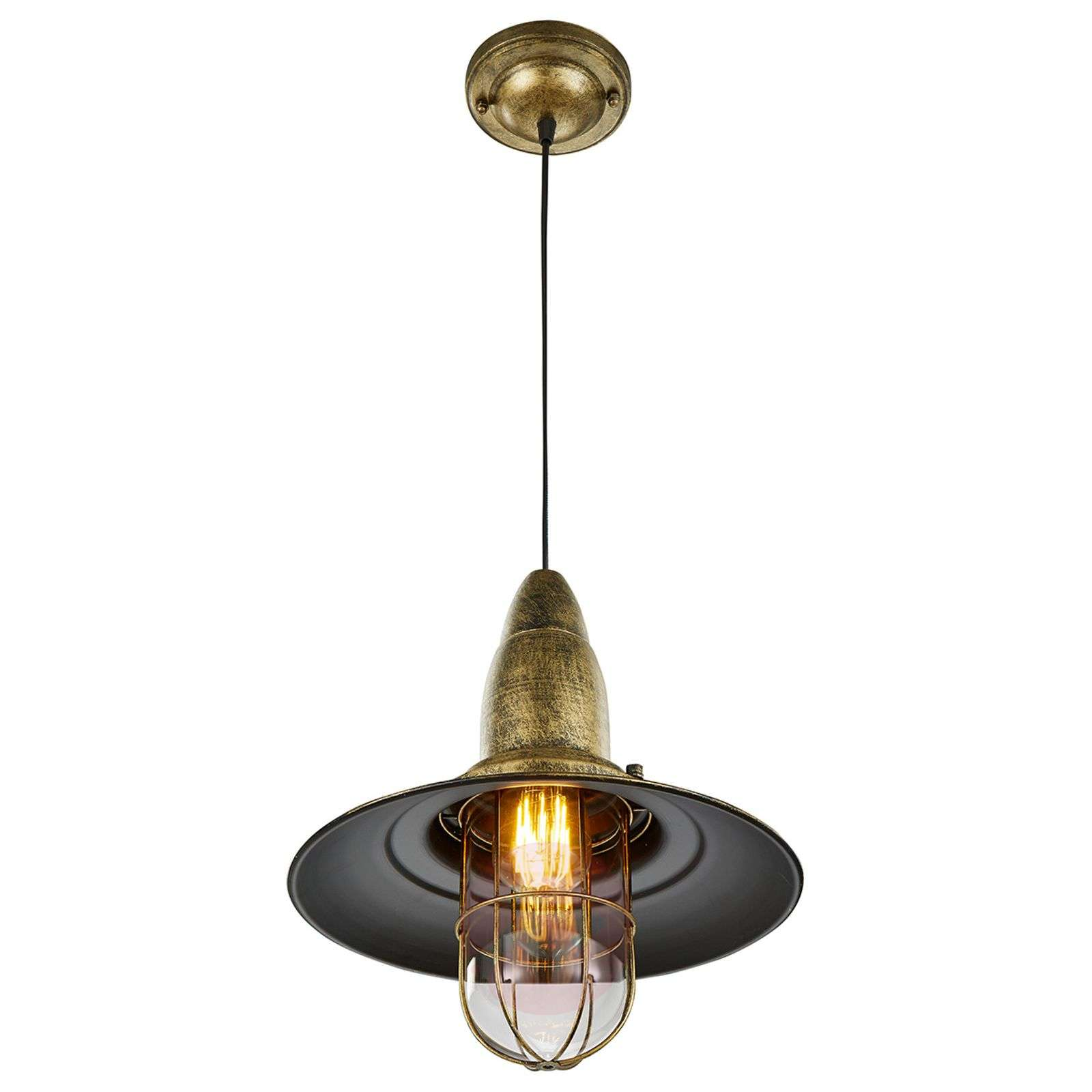 Kitchen Fisherman Pendant Light, Antique-brass