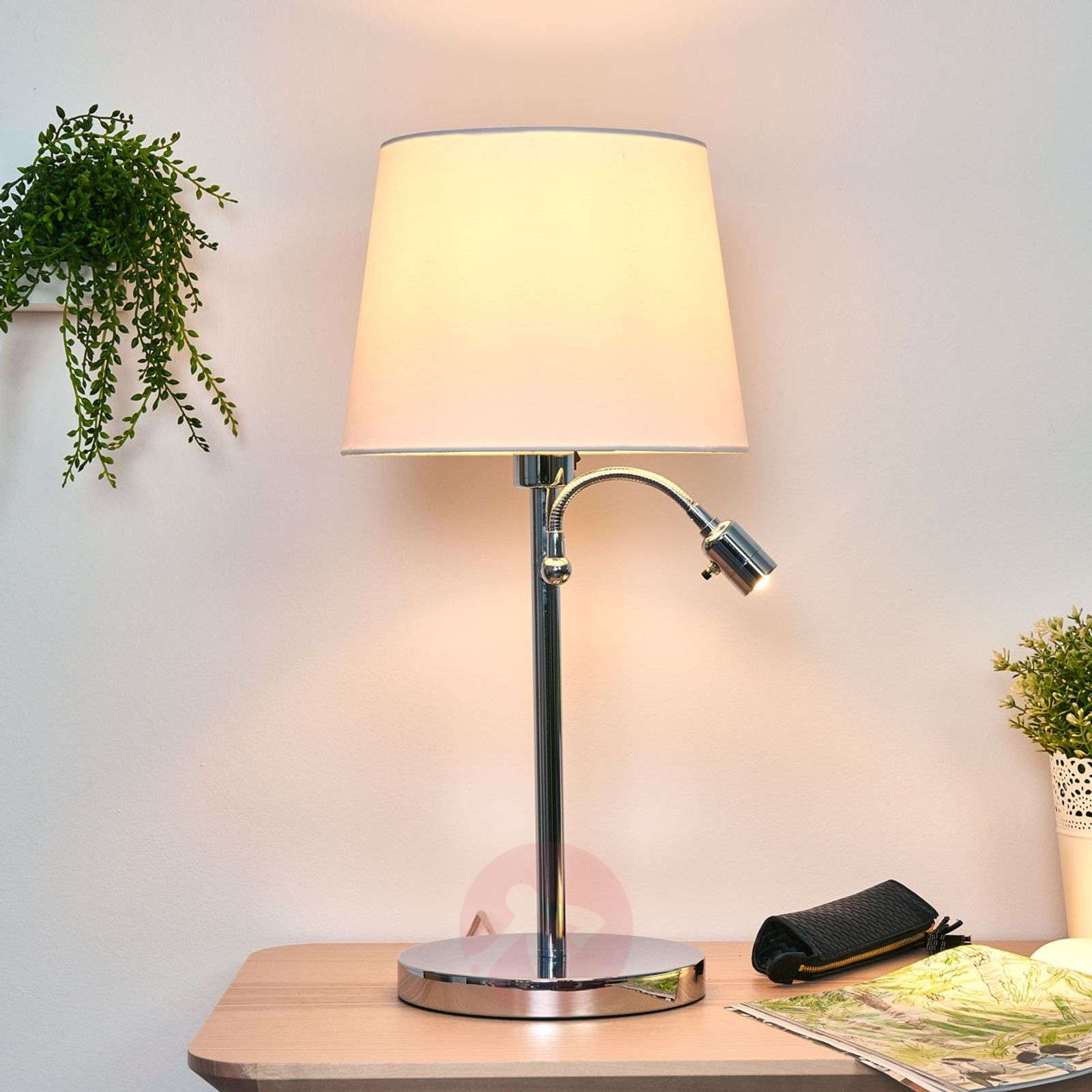 lavo table lamp with led reading light. Black Bedroom Furniture Sets. Home Design Ideas