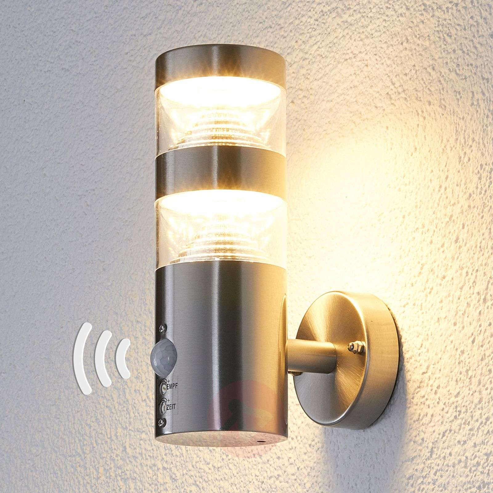 Led outdoor wall light lanea with motion sensor for Exterior wall light with motion sensor