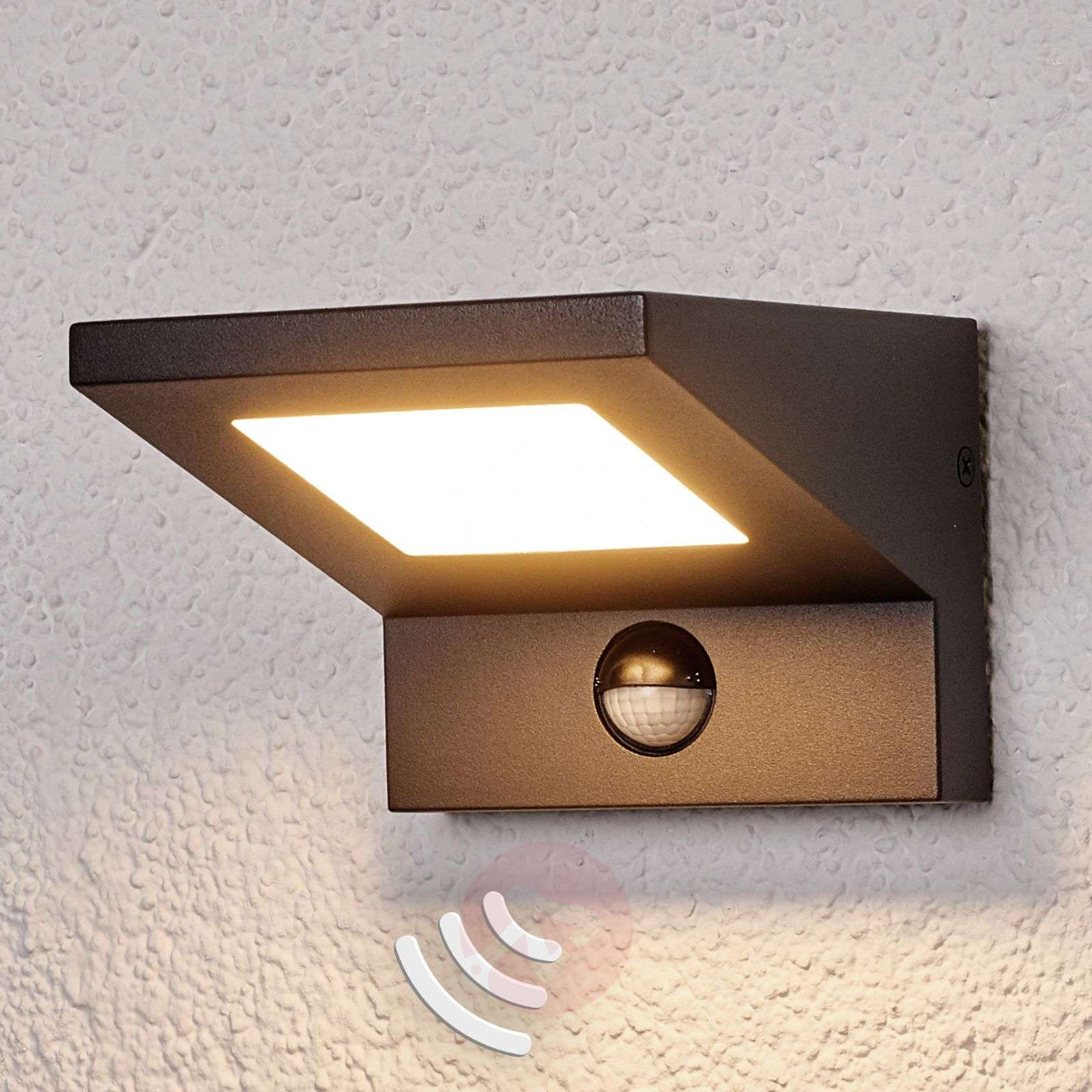 LED outdoor wall light Levvon with motion detector Lights.co.uk