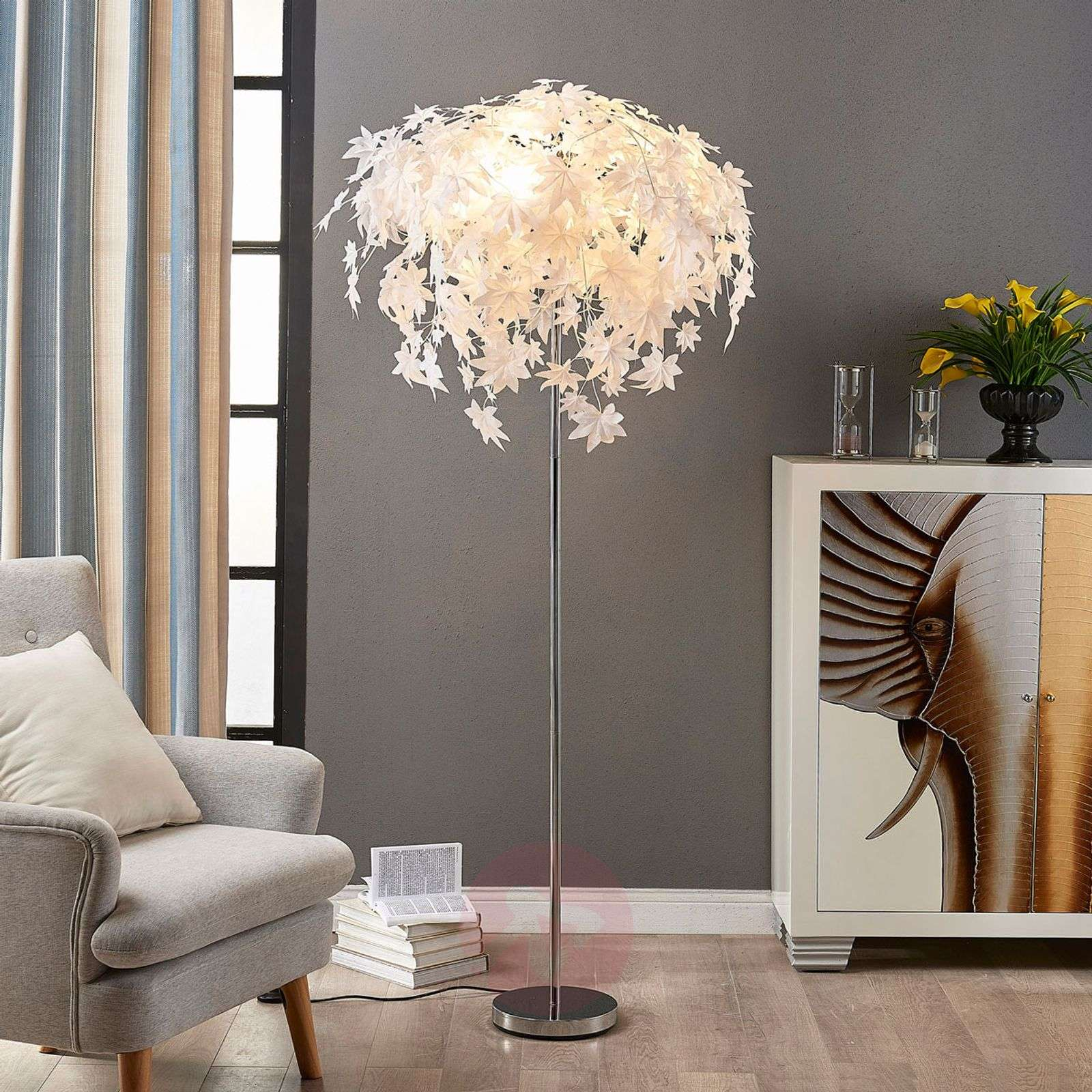 Maple - floor lamp with leaf decoration | Lights.co.uk