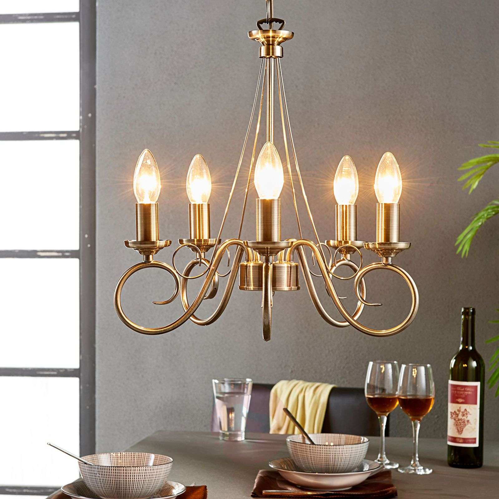 Marnia Chandelier In Antique Brass 5 Bulb Lights Co Uk