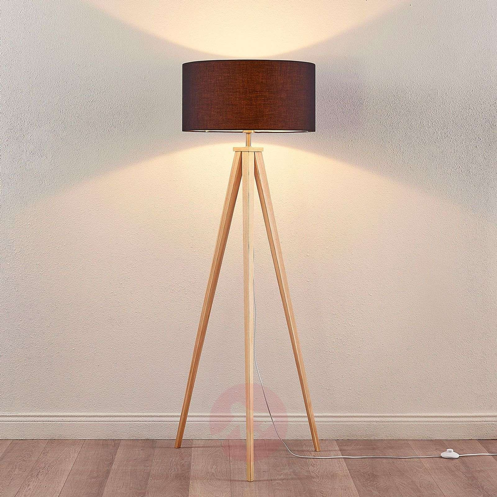 Mya wooden floor lamp with black fabric lampshade lights mya wooden floor lamp with black fabric lampshade 9621330 01 mozeypictures Image collections
