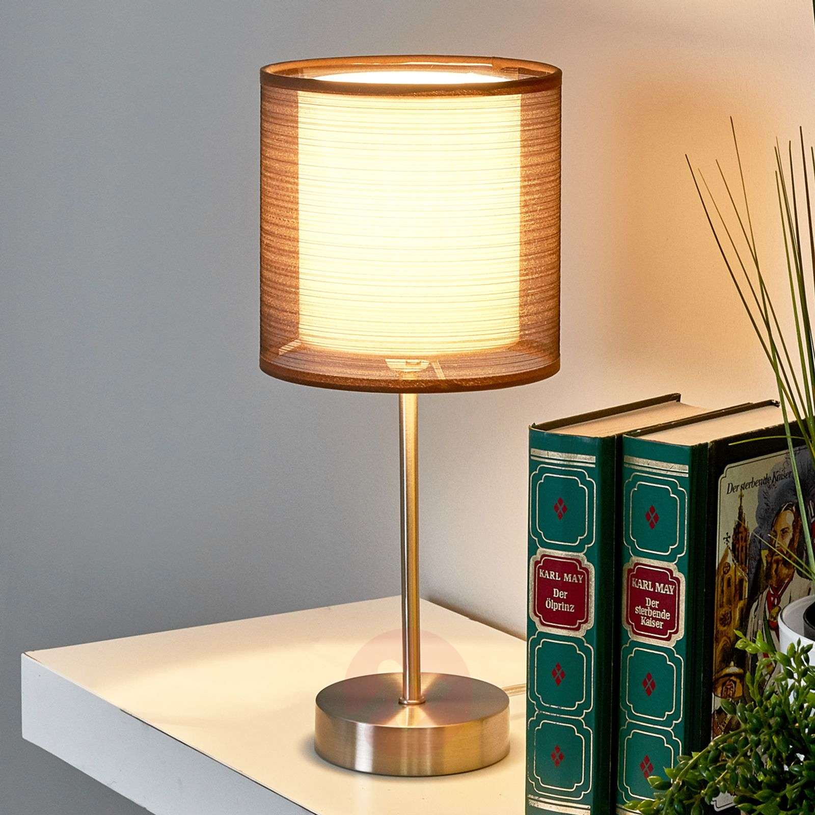 Nica Bedside Table Lamp With Brown Fabric Shade Lights Co Uk