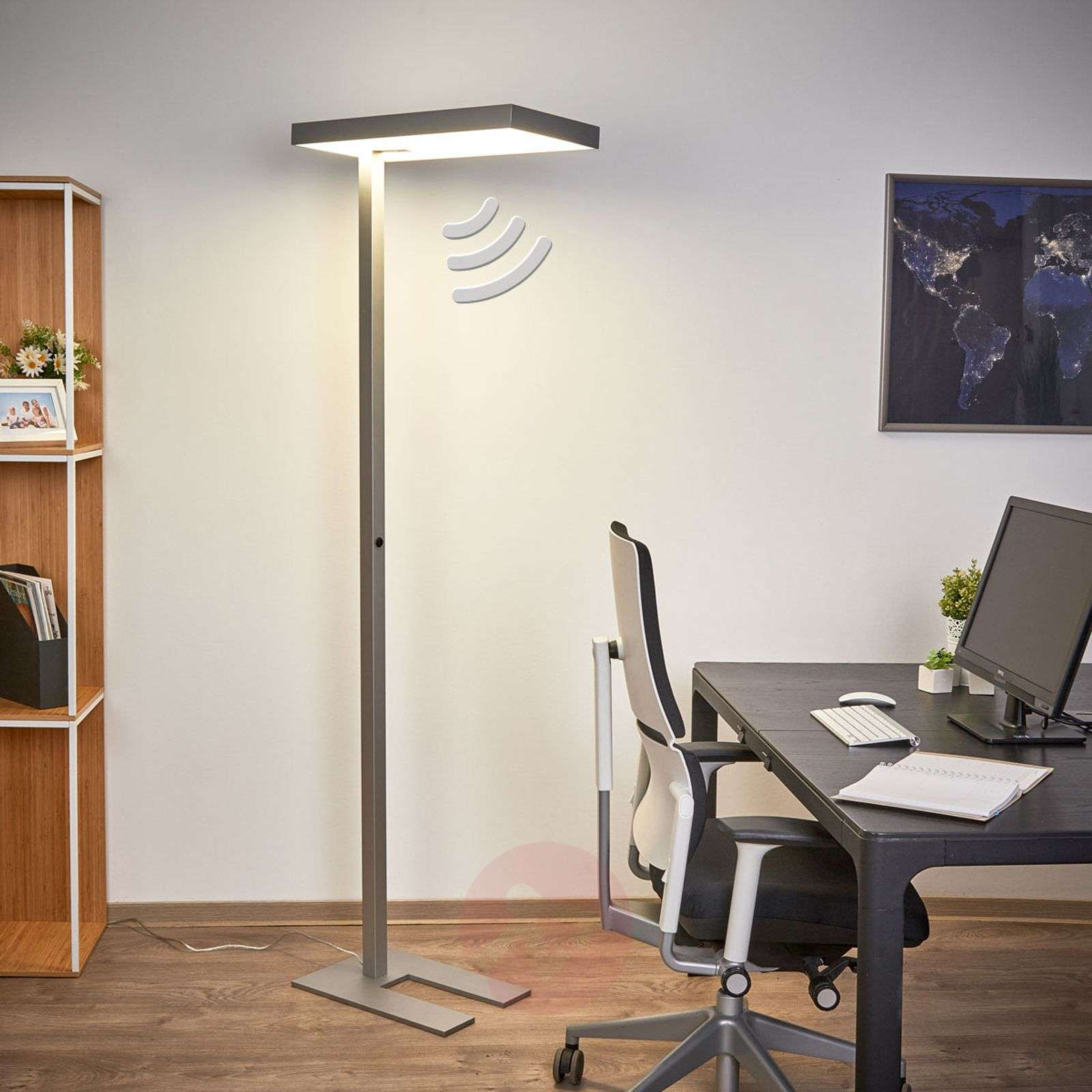 office led floor lamp nora with motion detector. Black Bedroom Furniture Sets. Home Design Ideas