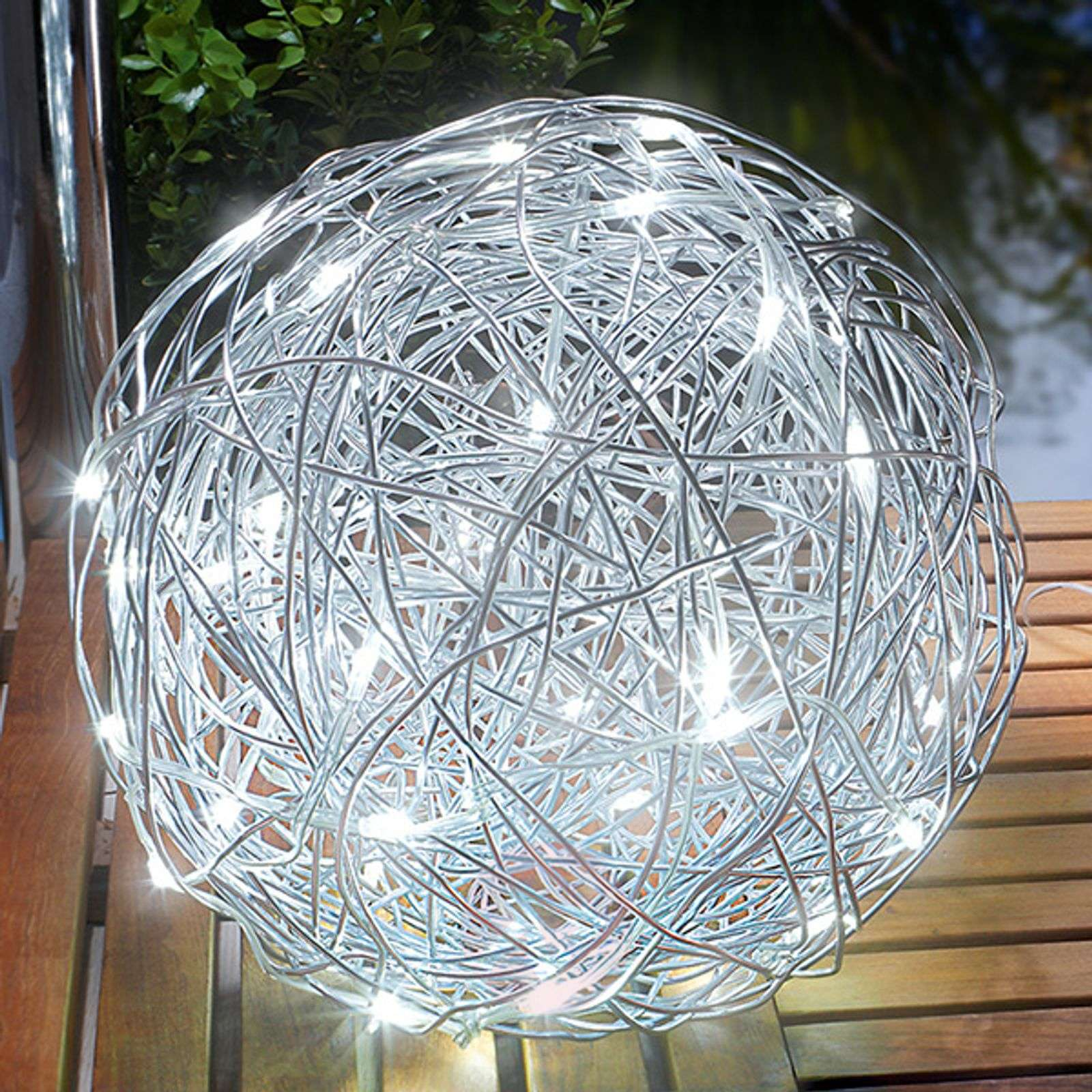 Outdoor light LED solar aluminium wire ball | Lights.co.uk