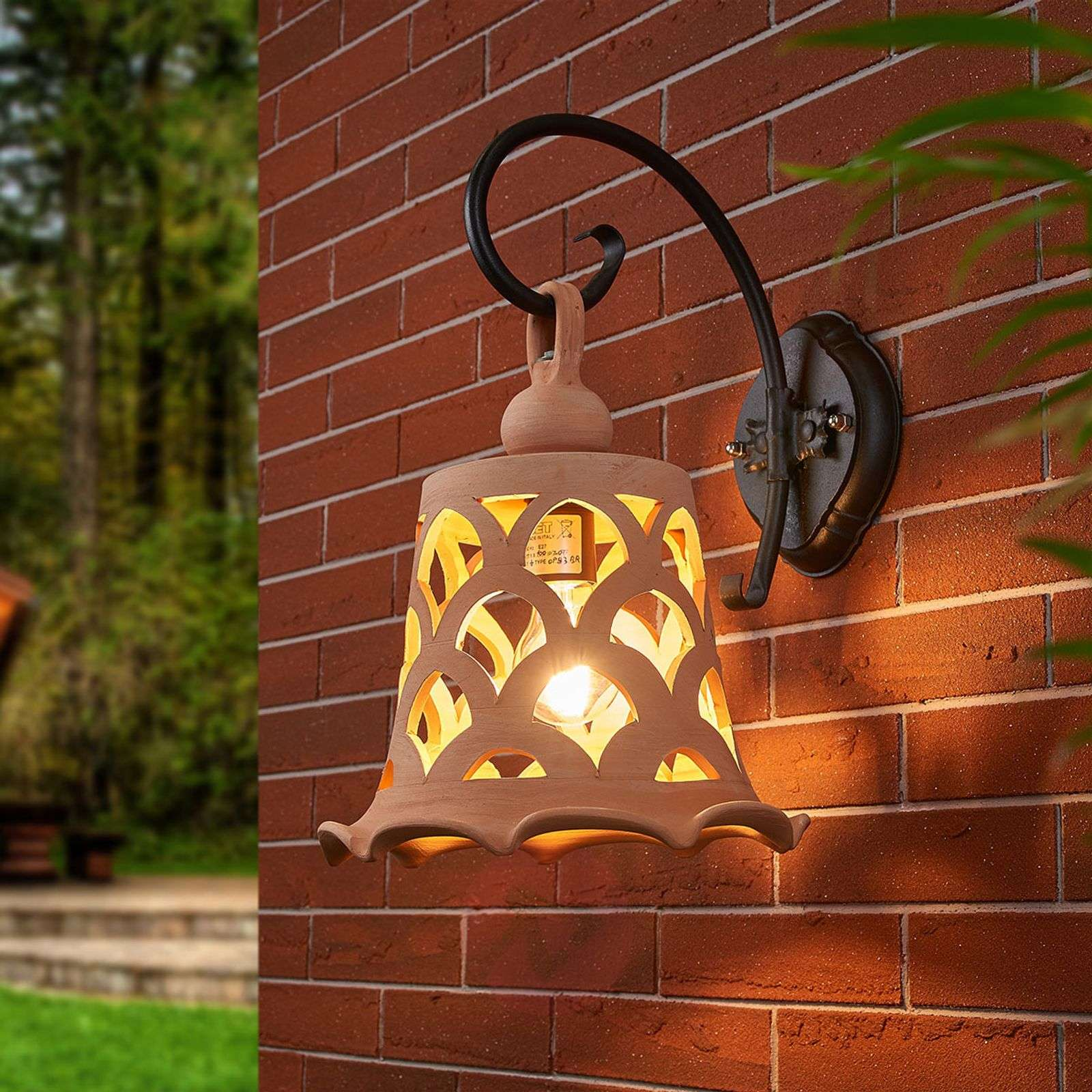 Outdoor Lighting Company: Outdoor Wall Light Eracle, Terracotta Lampshade