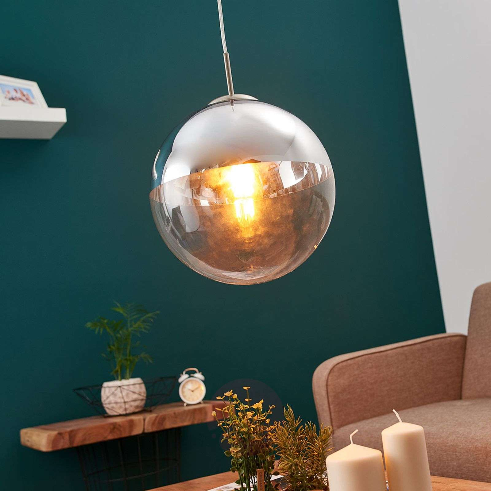 Pendant Light Ravena With A Glass Sphere One Bulb