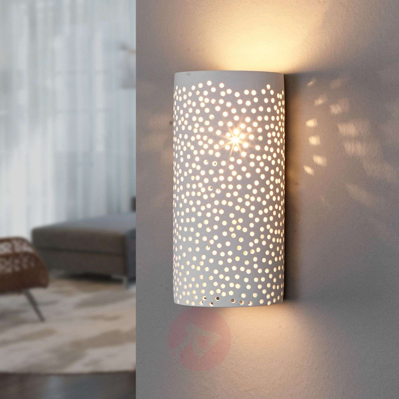 Perforated wall light jiru made of white plaster lights perforated wall light jiru made of white plaster 9613051 02 aloadofball Images