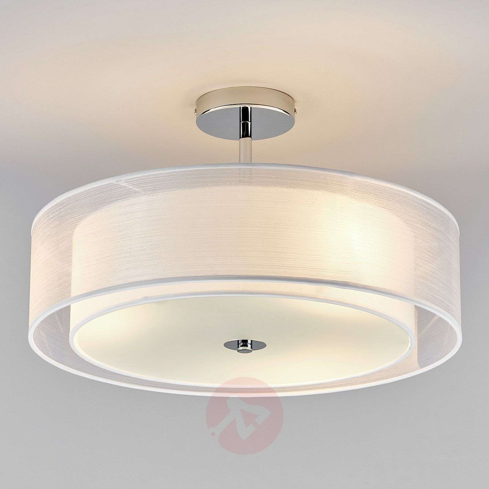 Pikka LED ceiling light with a white lampshade | Lights.co.uk
