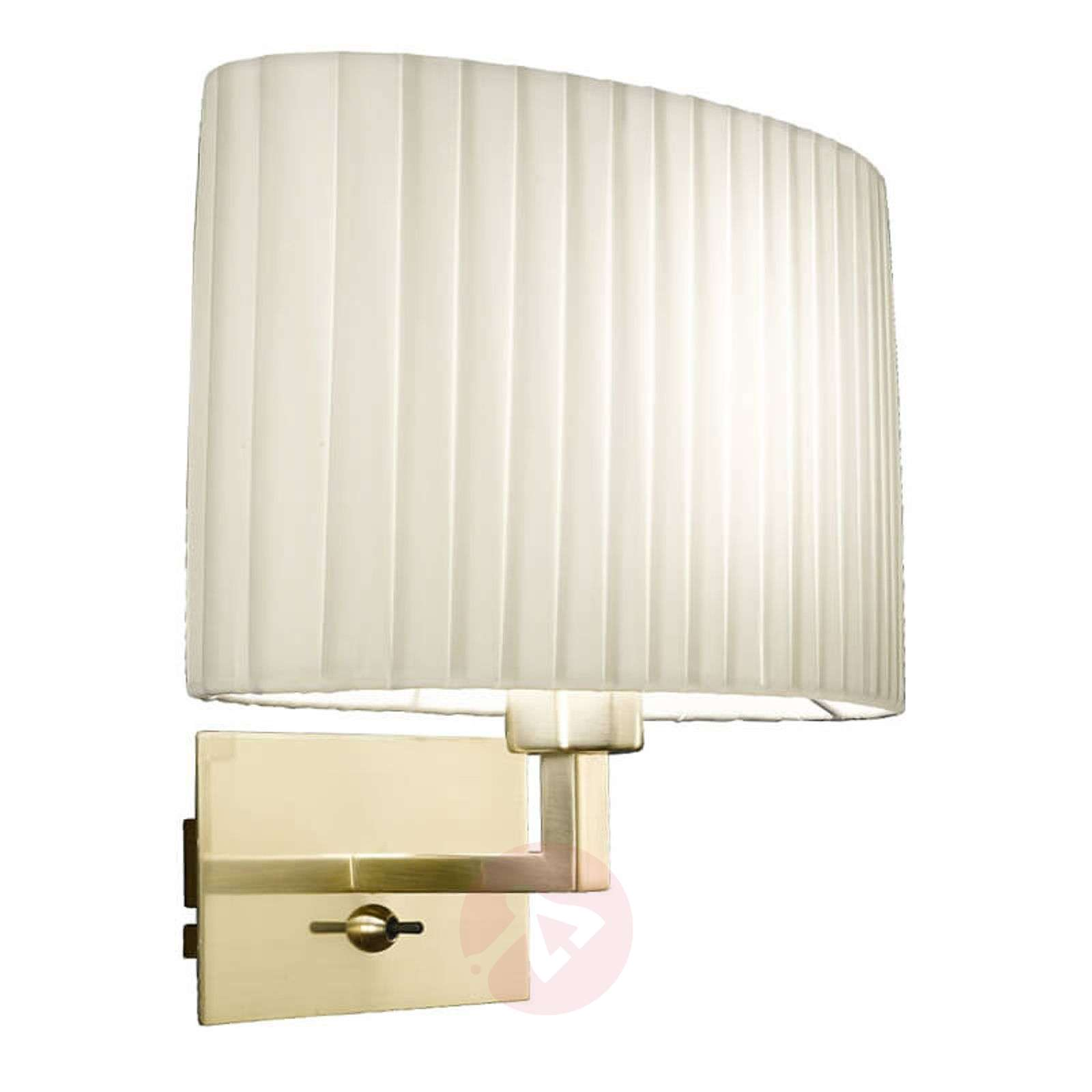 Pleated Fabric Wall Light Sand With Brass Holder Lights