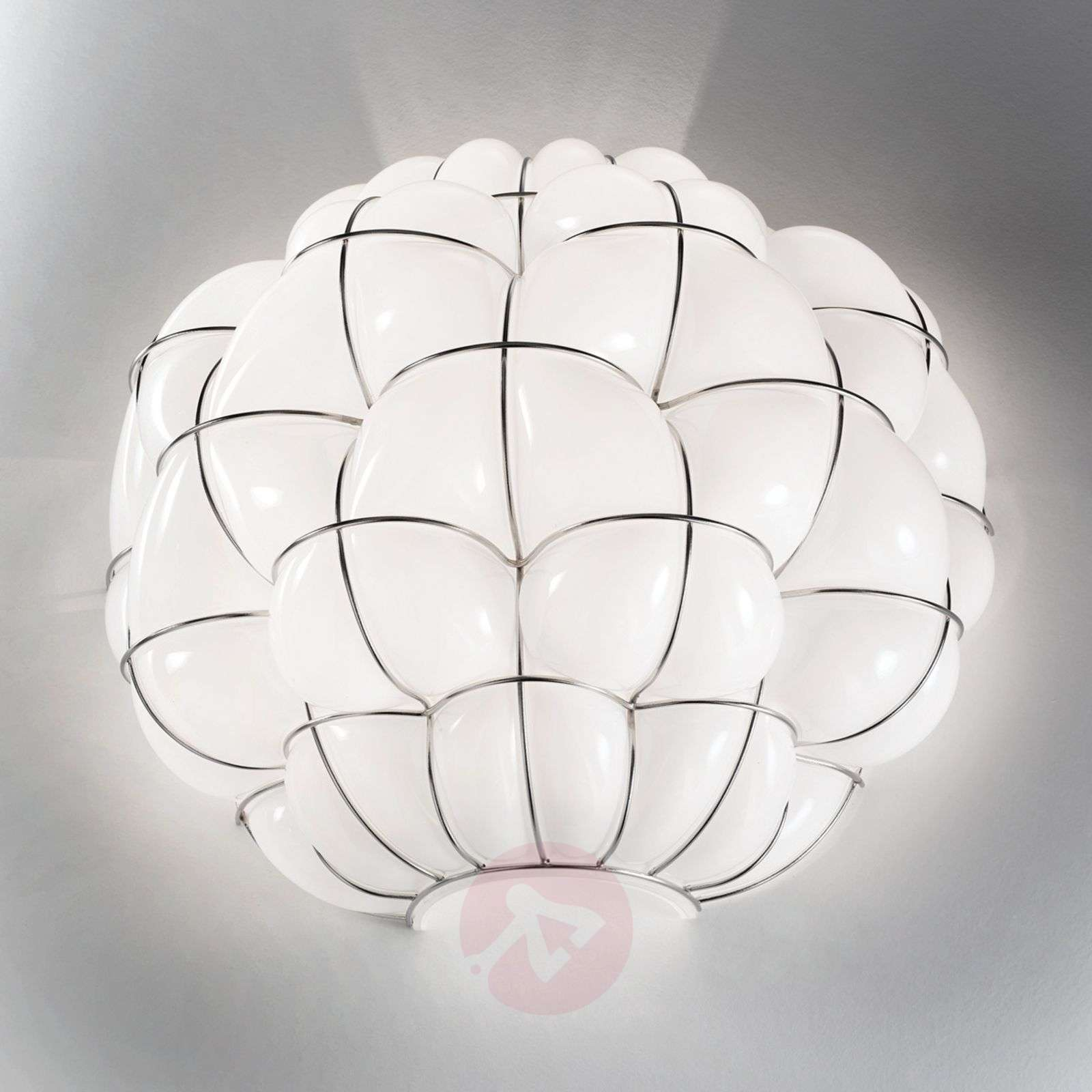 Pouff wall light in white and stainless steel Lights.co.uk