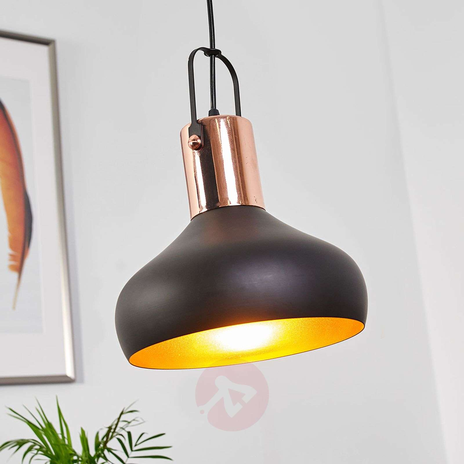 Pretty Hanging Lamp Batu Black And Gold Lightscouk